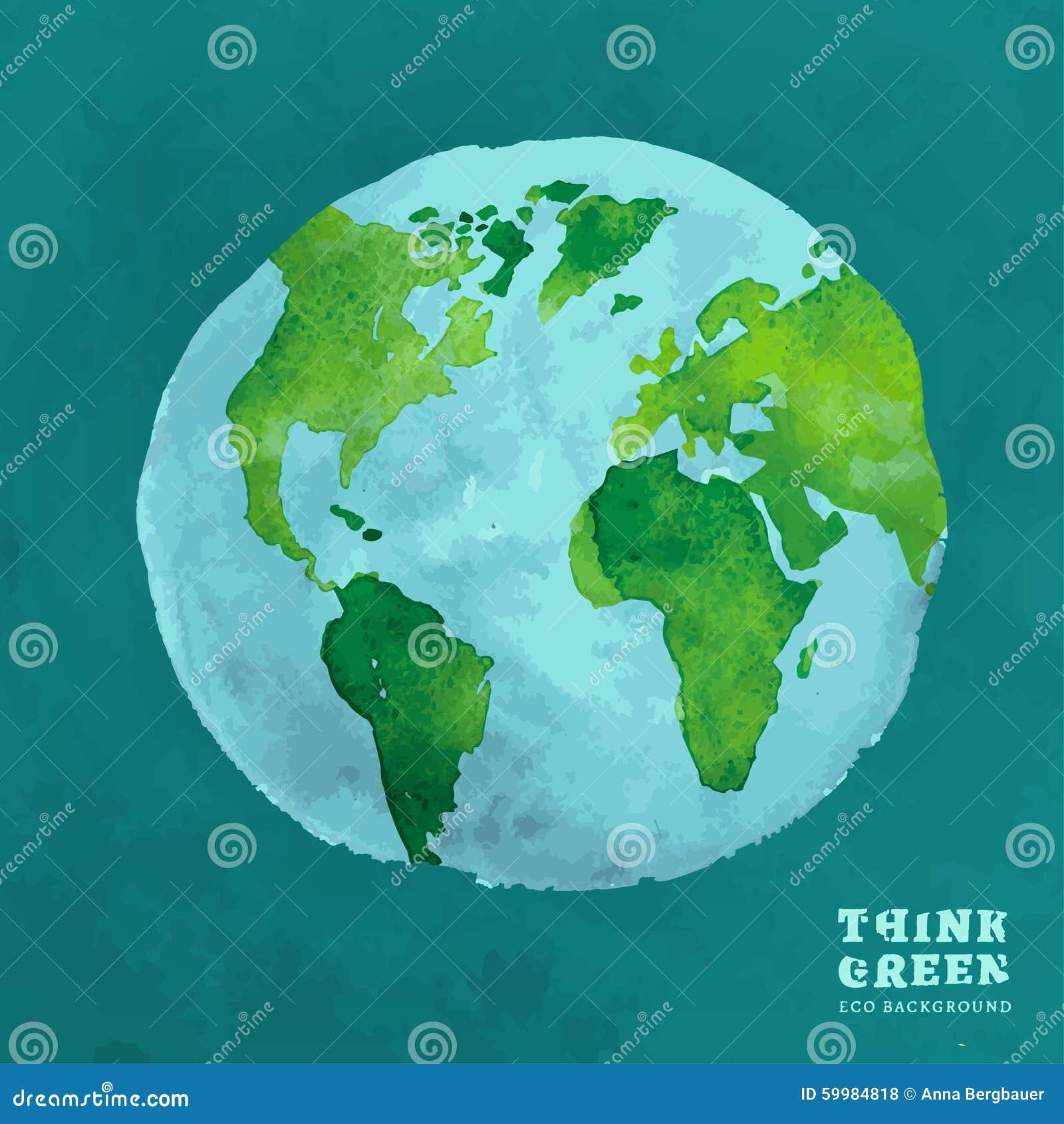 Environmental Concept Earthfriendly Landscapes: 01 Globe Watercolor Eco Concept Stock Vector