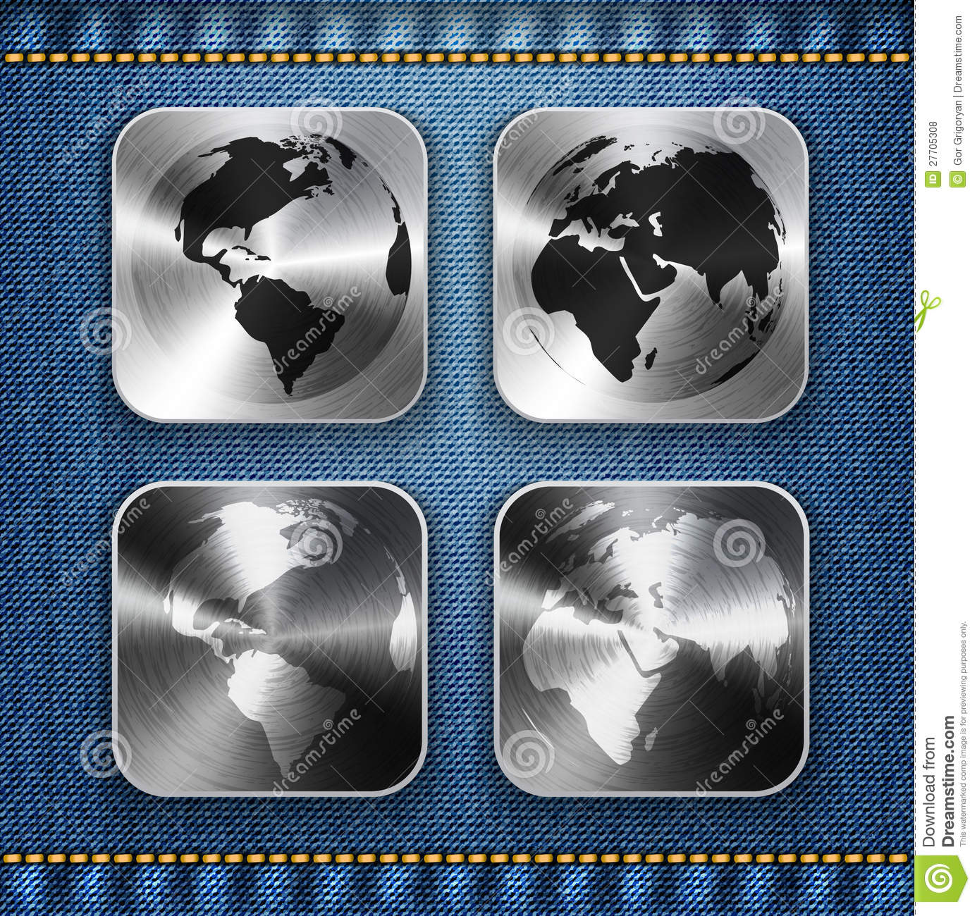 Globe and world map on brushed metal app icons stock vector download comp gumiabroncs Images