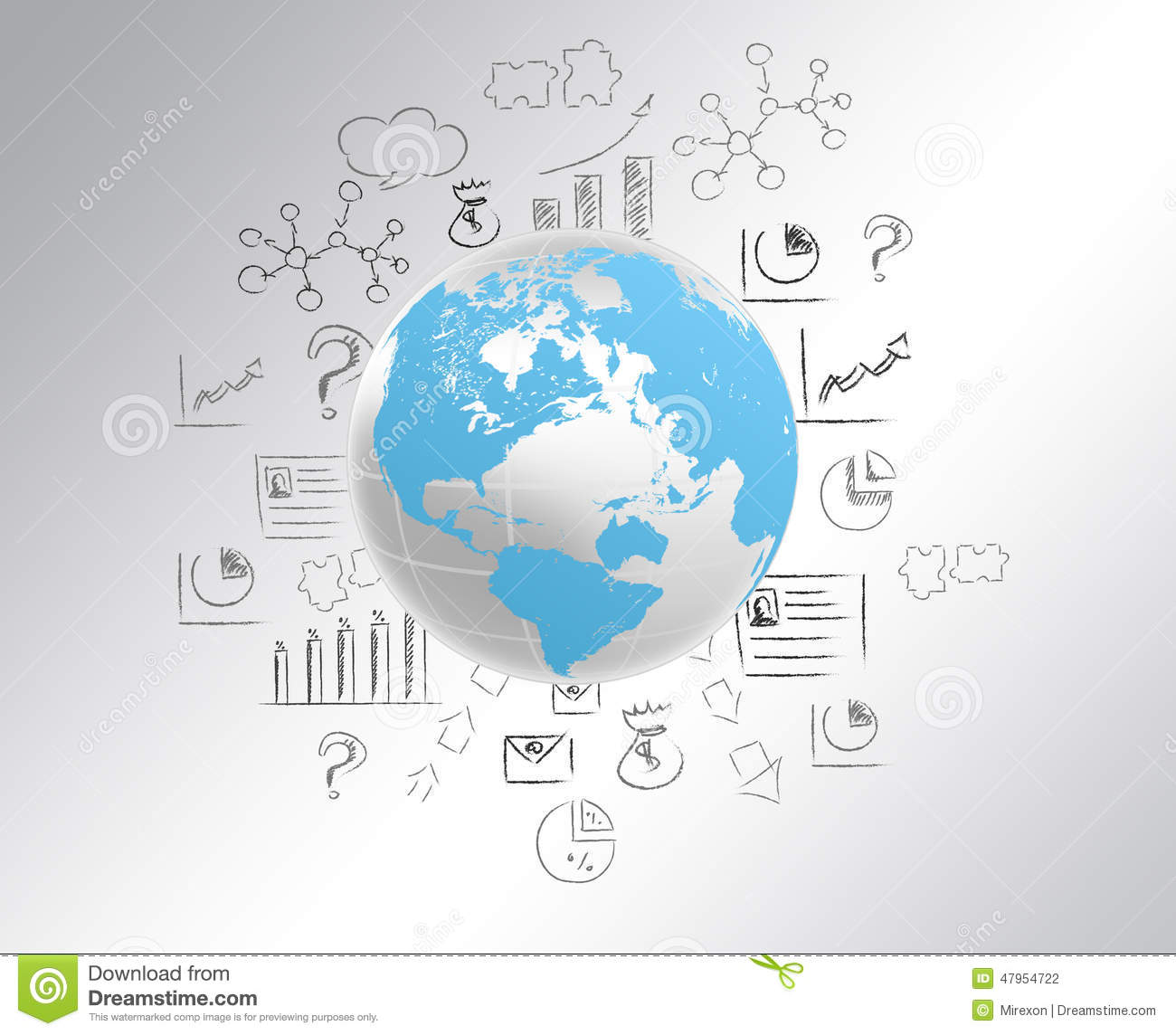 Globe With World Map And Draw A Pencil Icon Stock Photo Image Of