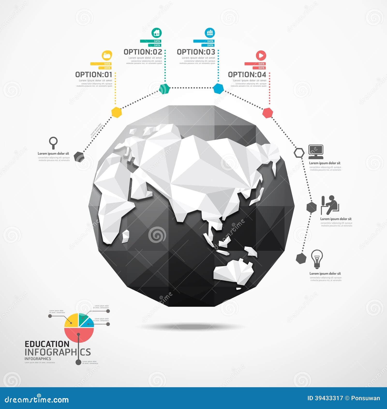 Globe World Map Illustration Infographics Geometric Concept. Stock ...