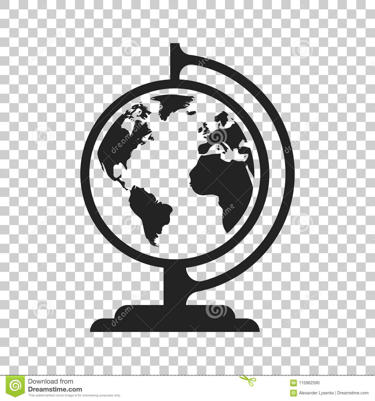 Flat World Map Vector.Globe World Map Vector Icon Round Earth Flat Vector Illustration