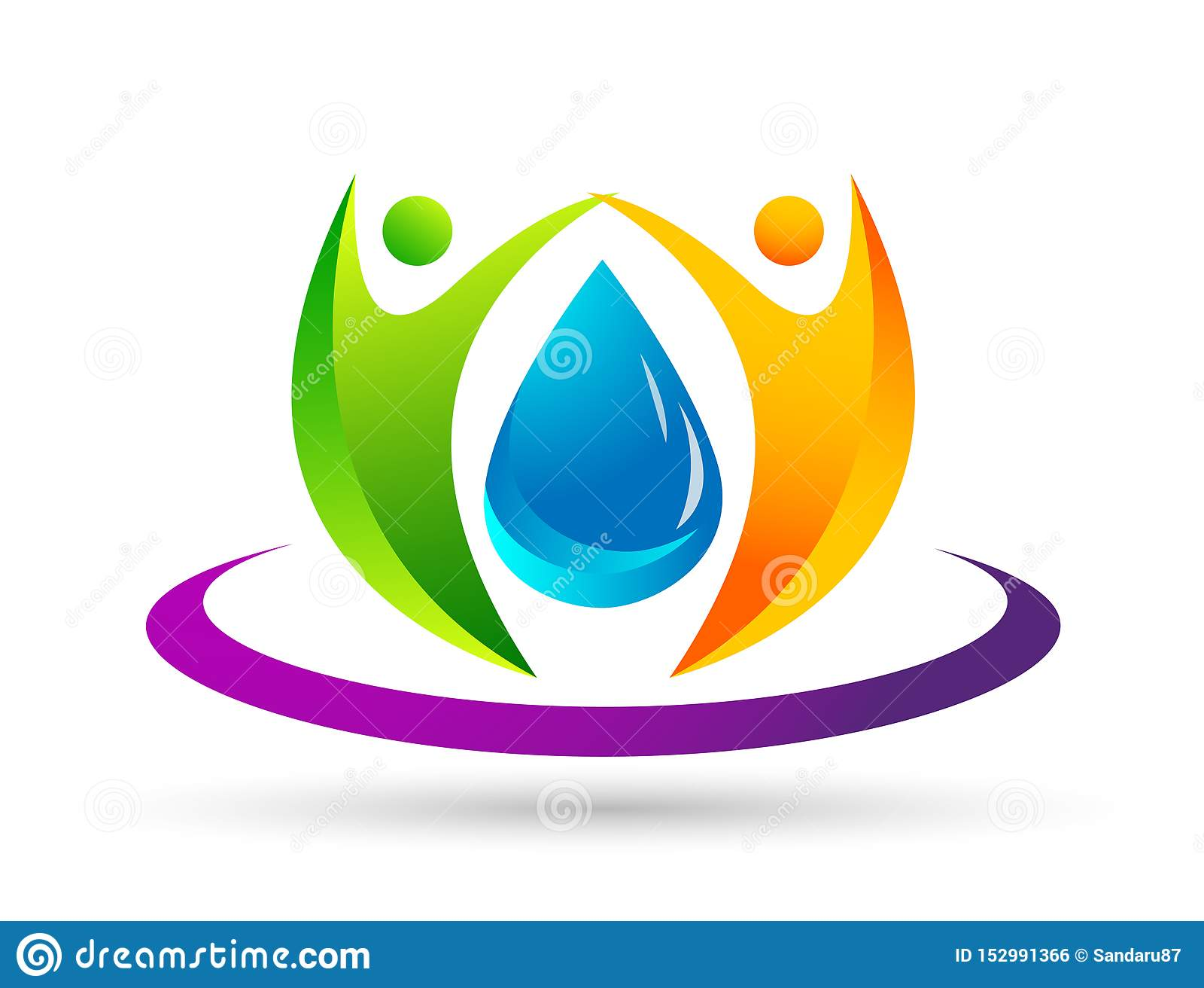 Water drop save water globe people life care logo concept of water drop wellness symbol icon nature drops elements vector design