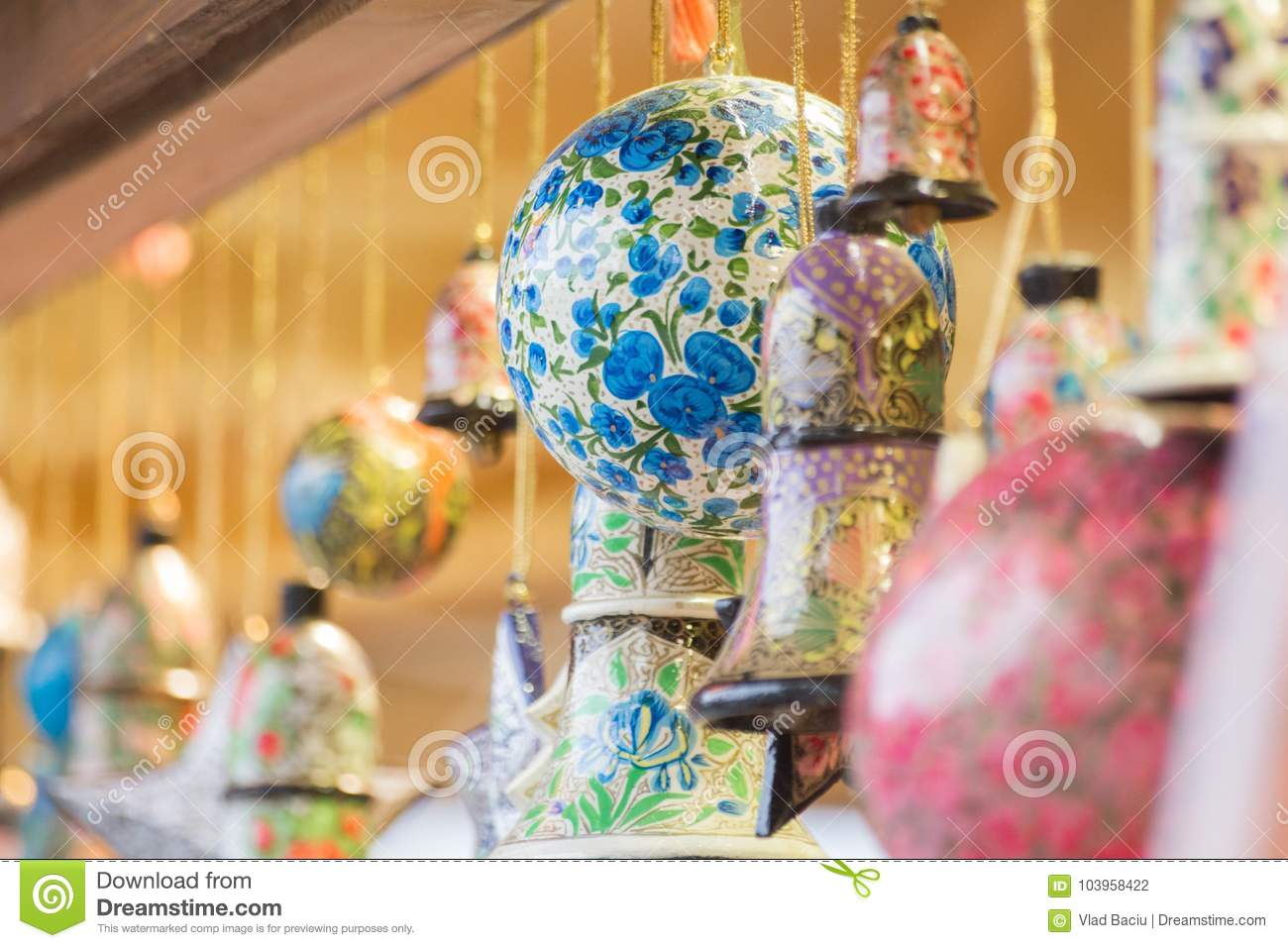 Globes and bells and star ornaments for Christmas