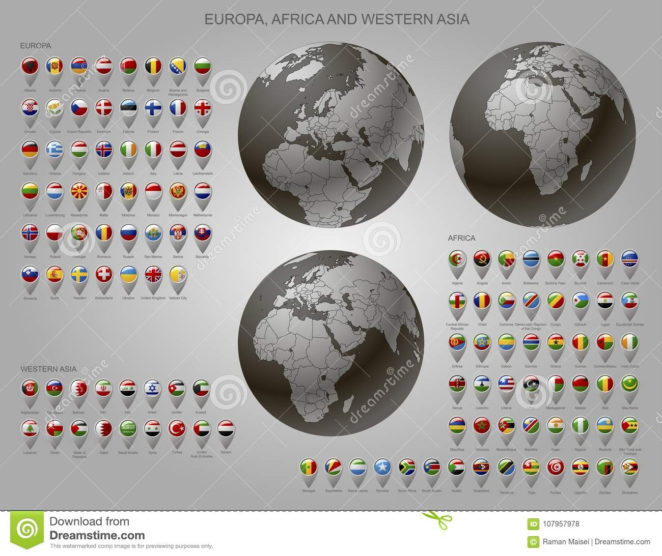Map Markers With Flags Europe, Africa And Western Asia And Globe ...