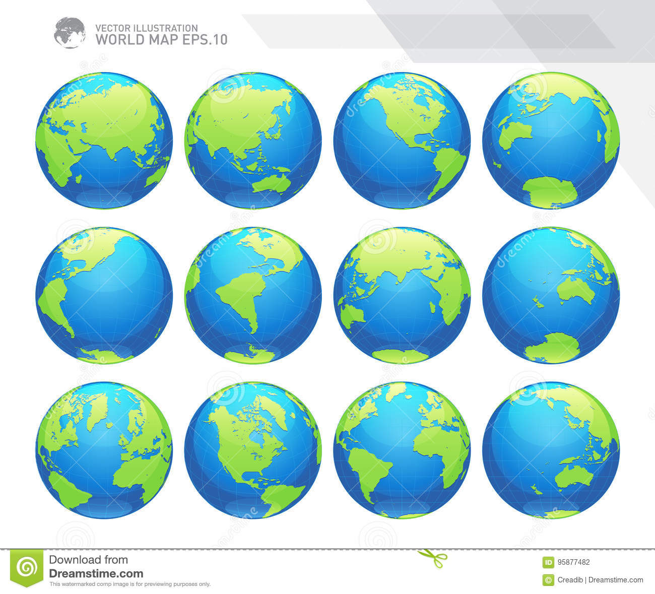 Globes Showing Earth With All Continents Digital World Globe Vector