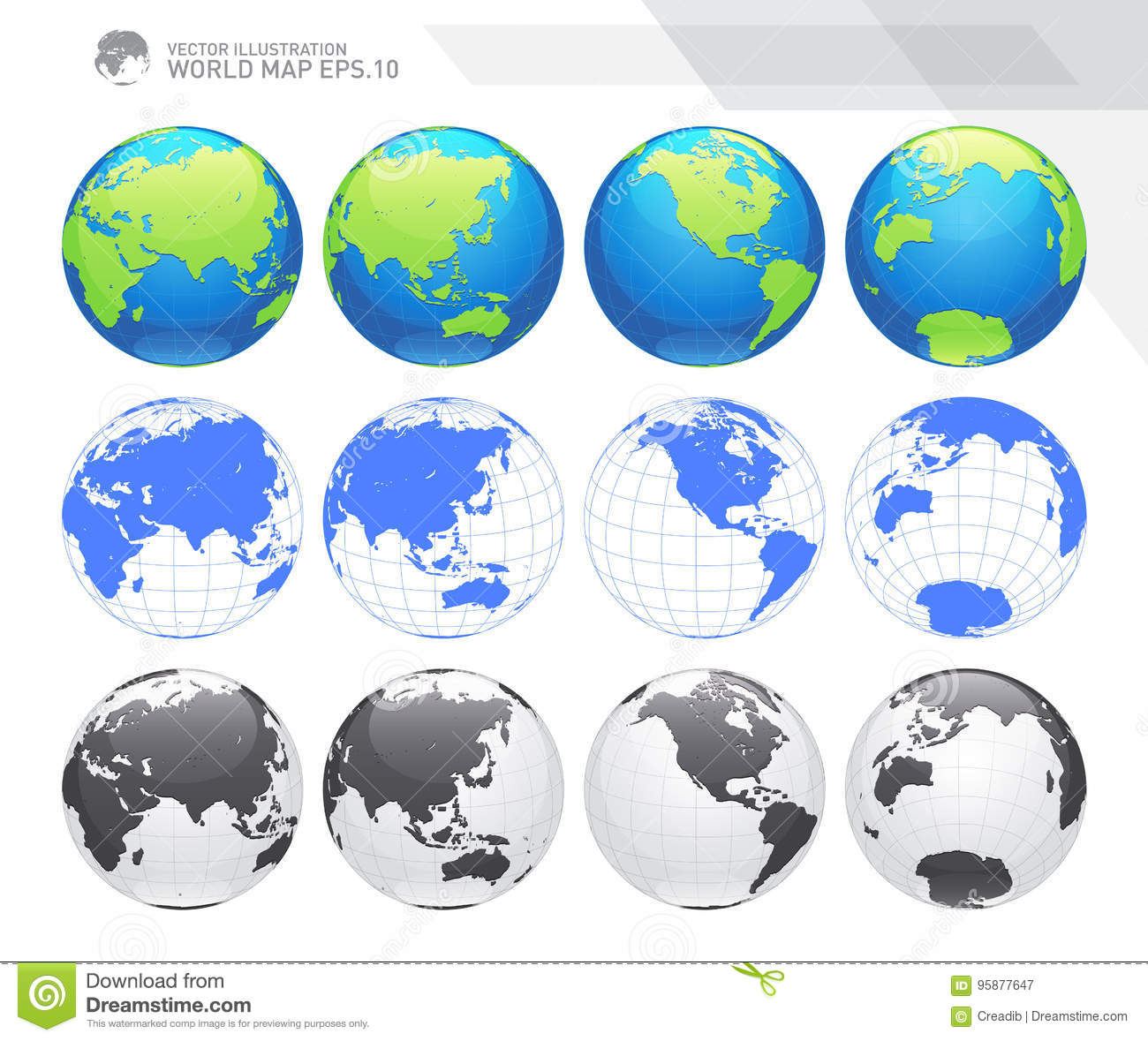 Globes showing earth with all continents digital world globe dotted world map vector royalty free vector download gumiabroncs Choice Image