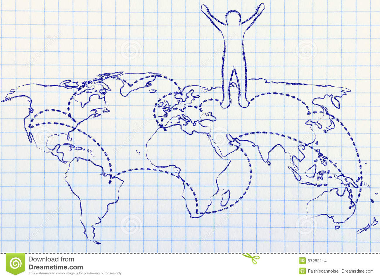 Globetrotter Life Happy Man On World Map With Visited Places Stock - Places visited map
