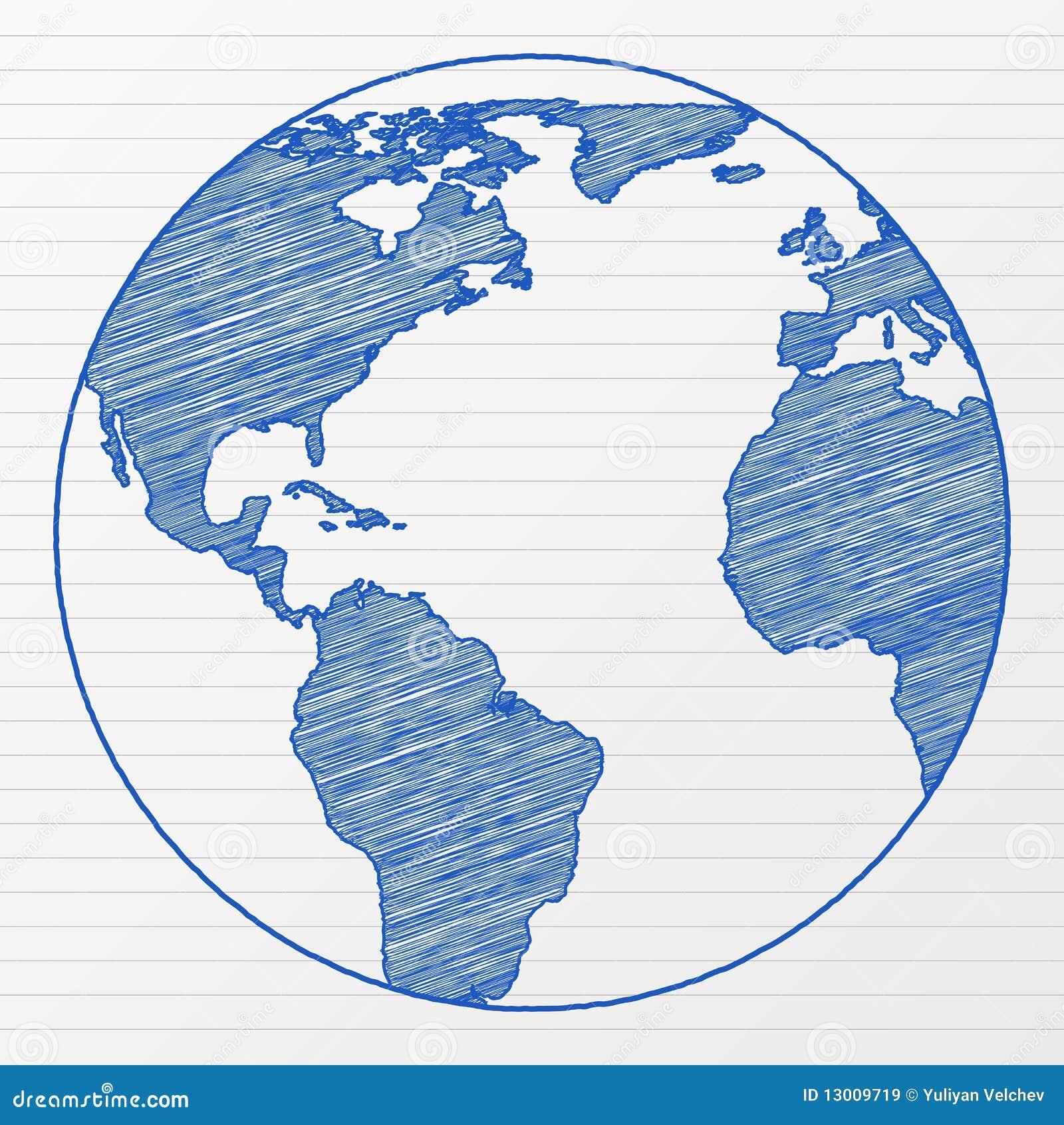 Globo 5 Do Mundo Do Desenho Ilustração do Vetor - Ilustração de tinta, branco: 13009719