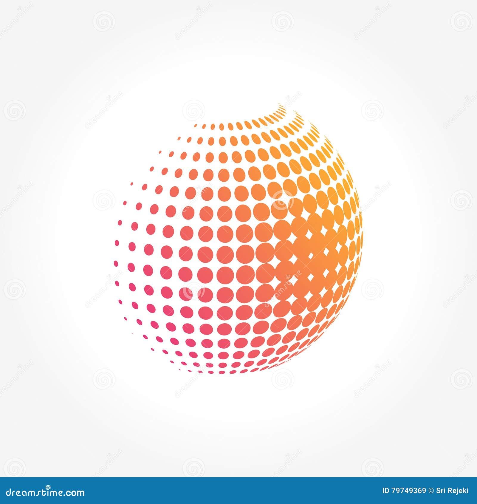 Globo abstracto, vibrante y colorido creativo de la esfera del icono