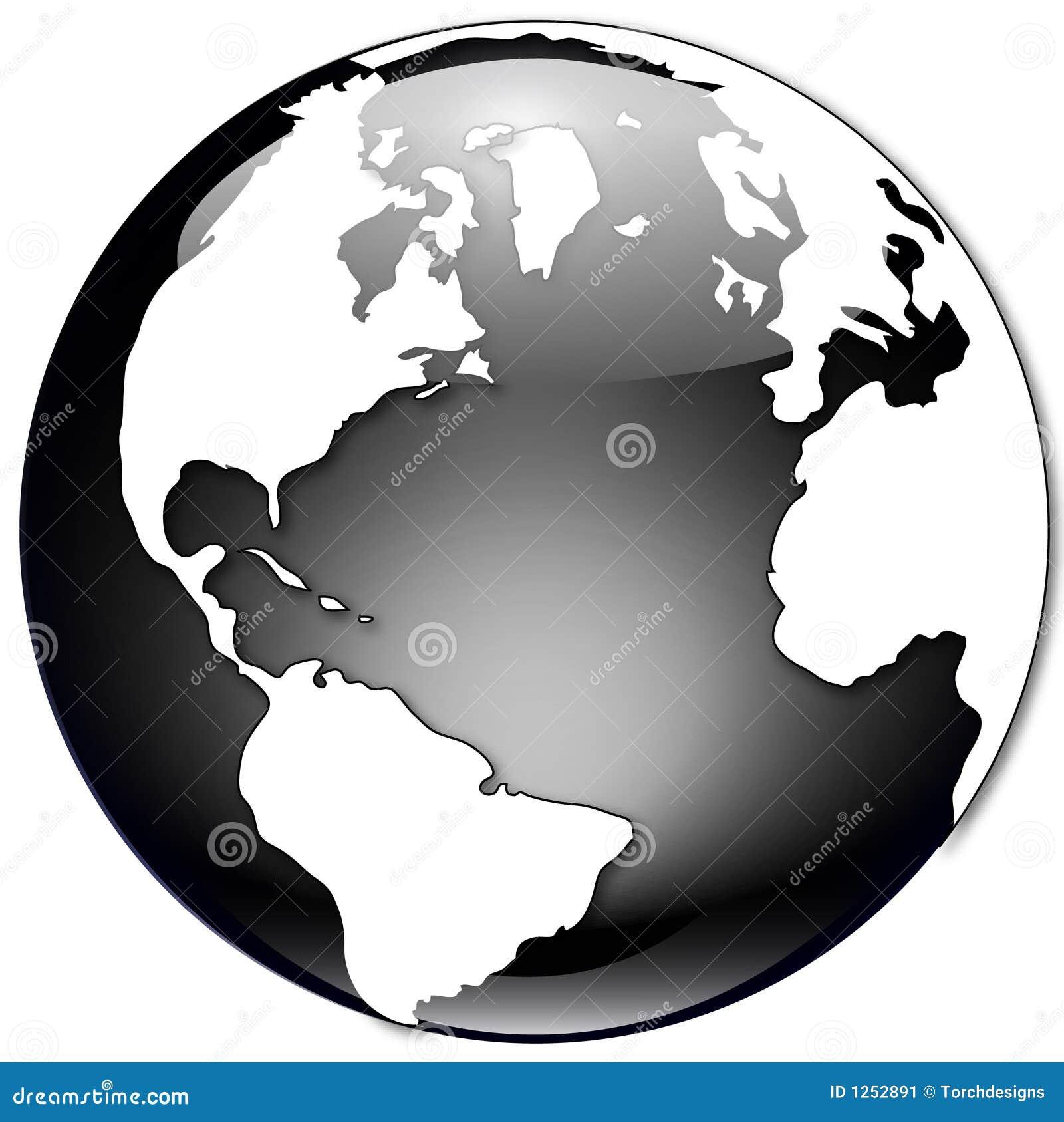 Globo in bianco e nero illustrazione di stock for Mappa mondo bianco e nero