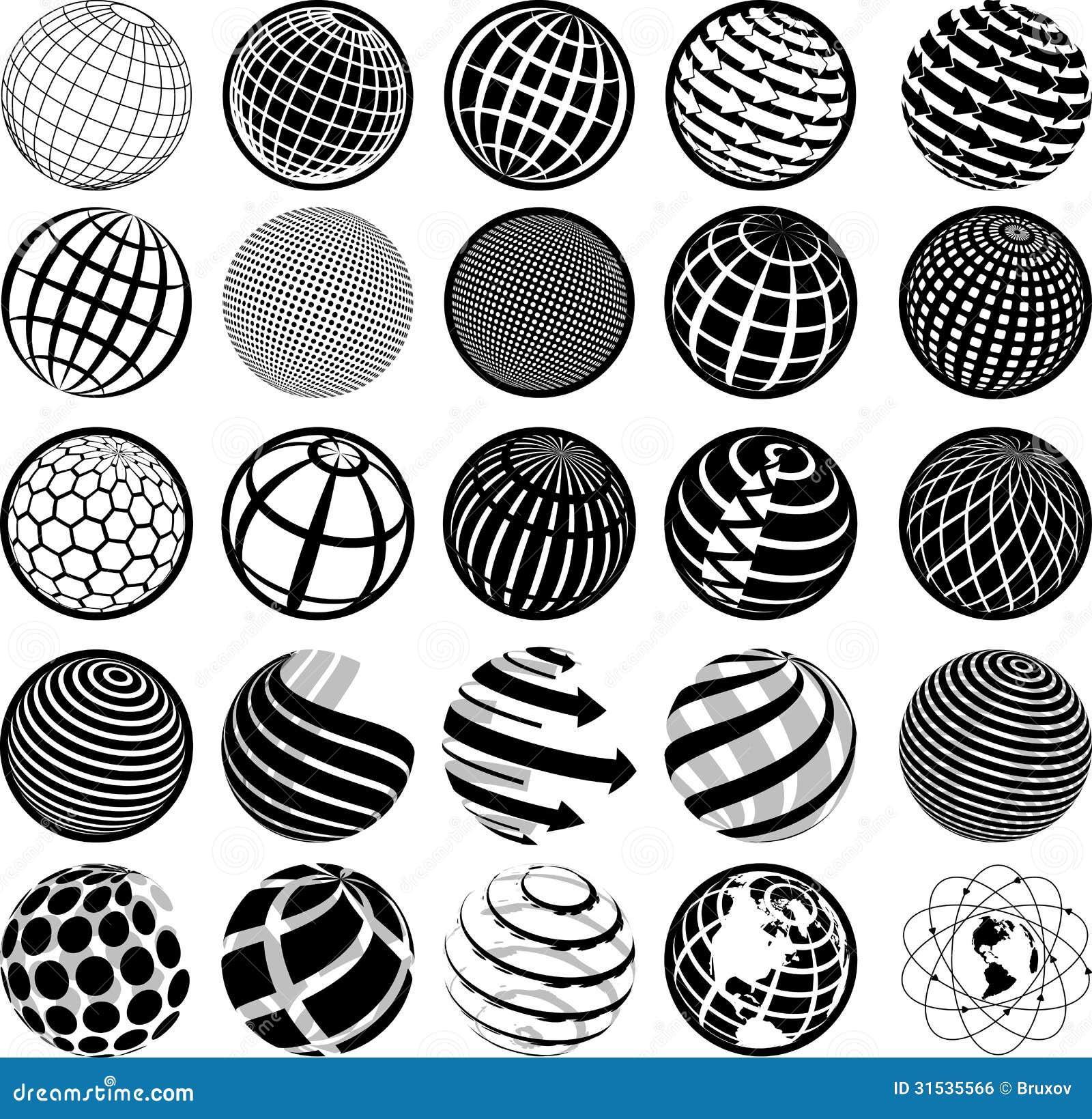 Globo in bianco e nero delle icone