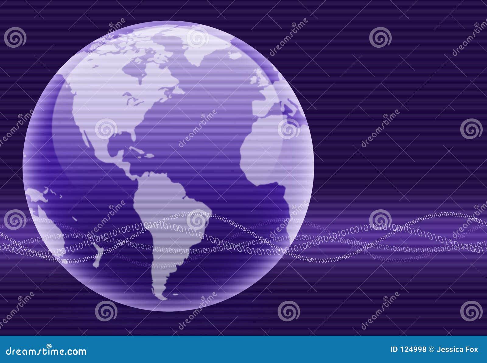 Globo binario púrpura de la onda