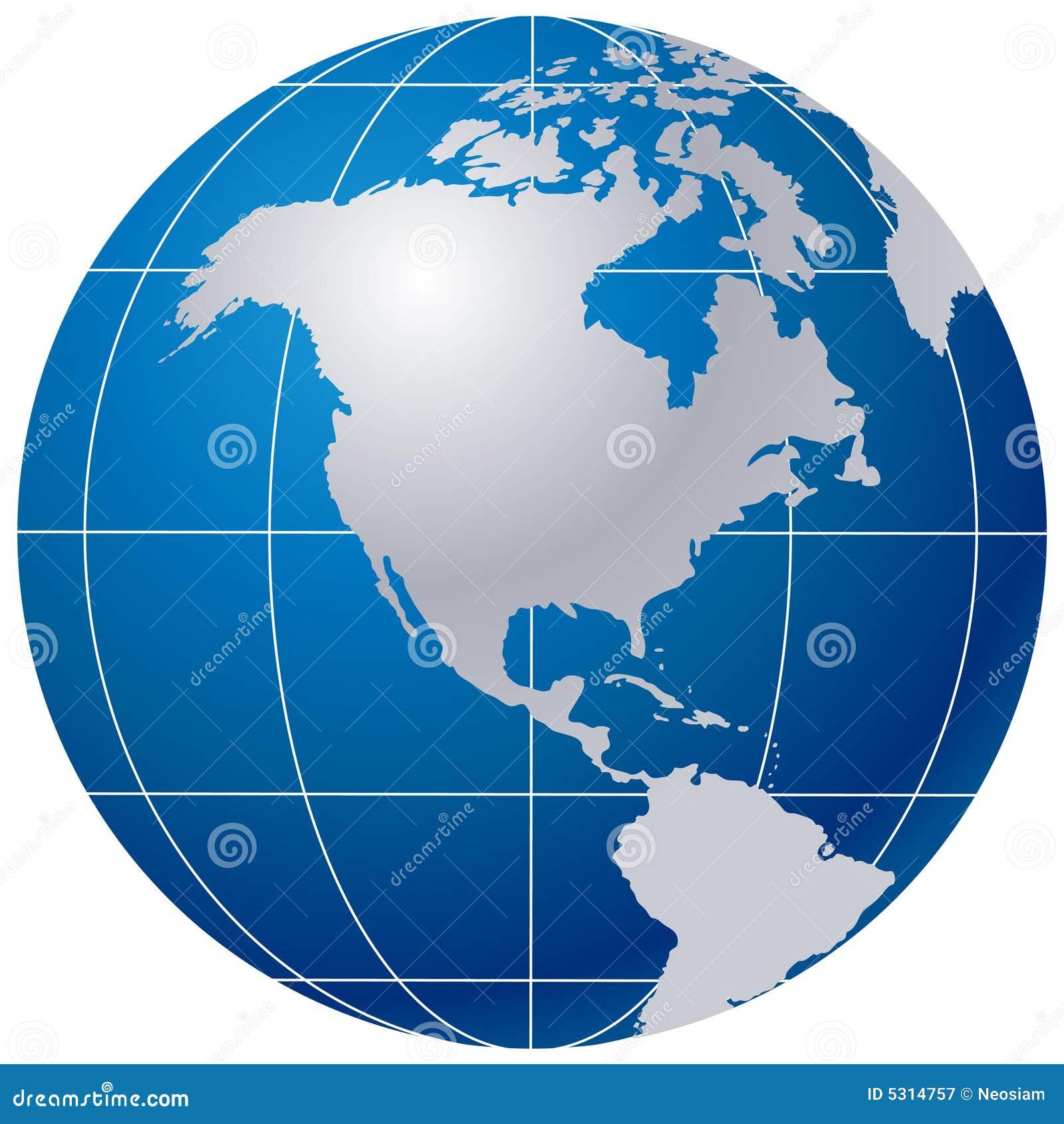 Download Globo blu su bianco illustrazione vettoriale. Illustrazione di continenti - 5314757