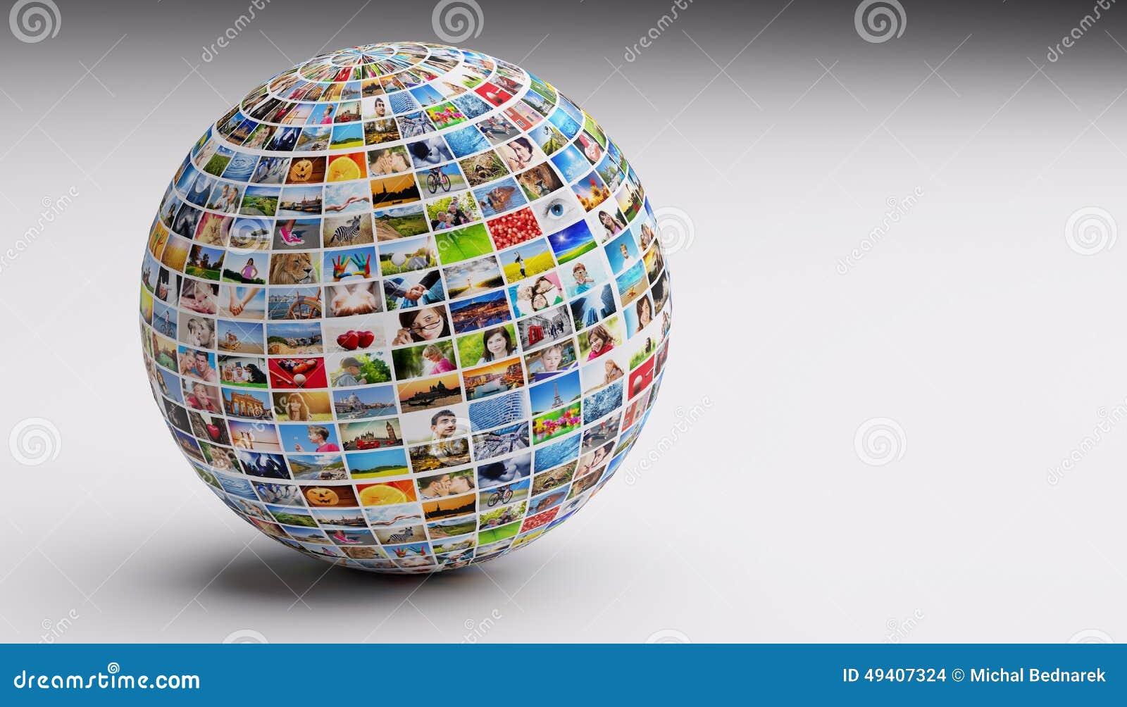 Globo, bola con las diversas imágenes de la gente, naturaleza, objetos, lugares