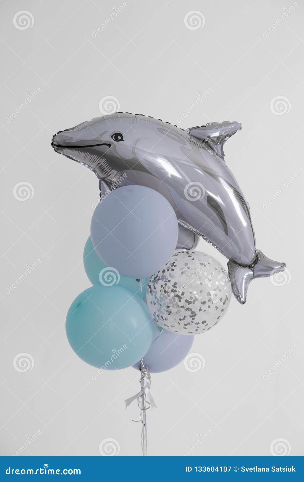 Globo bolas inflables de blanco y de gris, azules bola inflable del delfín