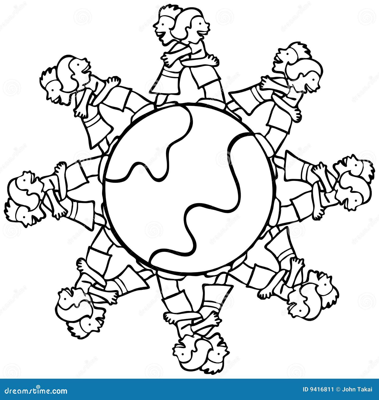 Globo com os miúdos circunvizinhos que abraçam - B e W