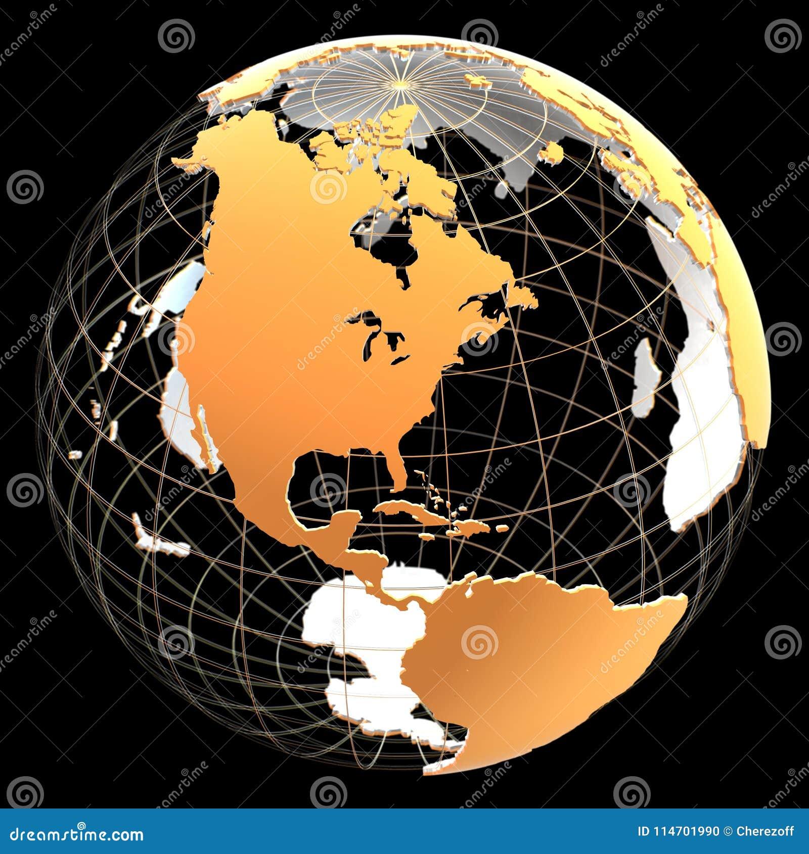 Globo 3d con los continentes y las líneas meridianas