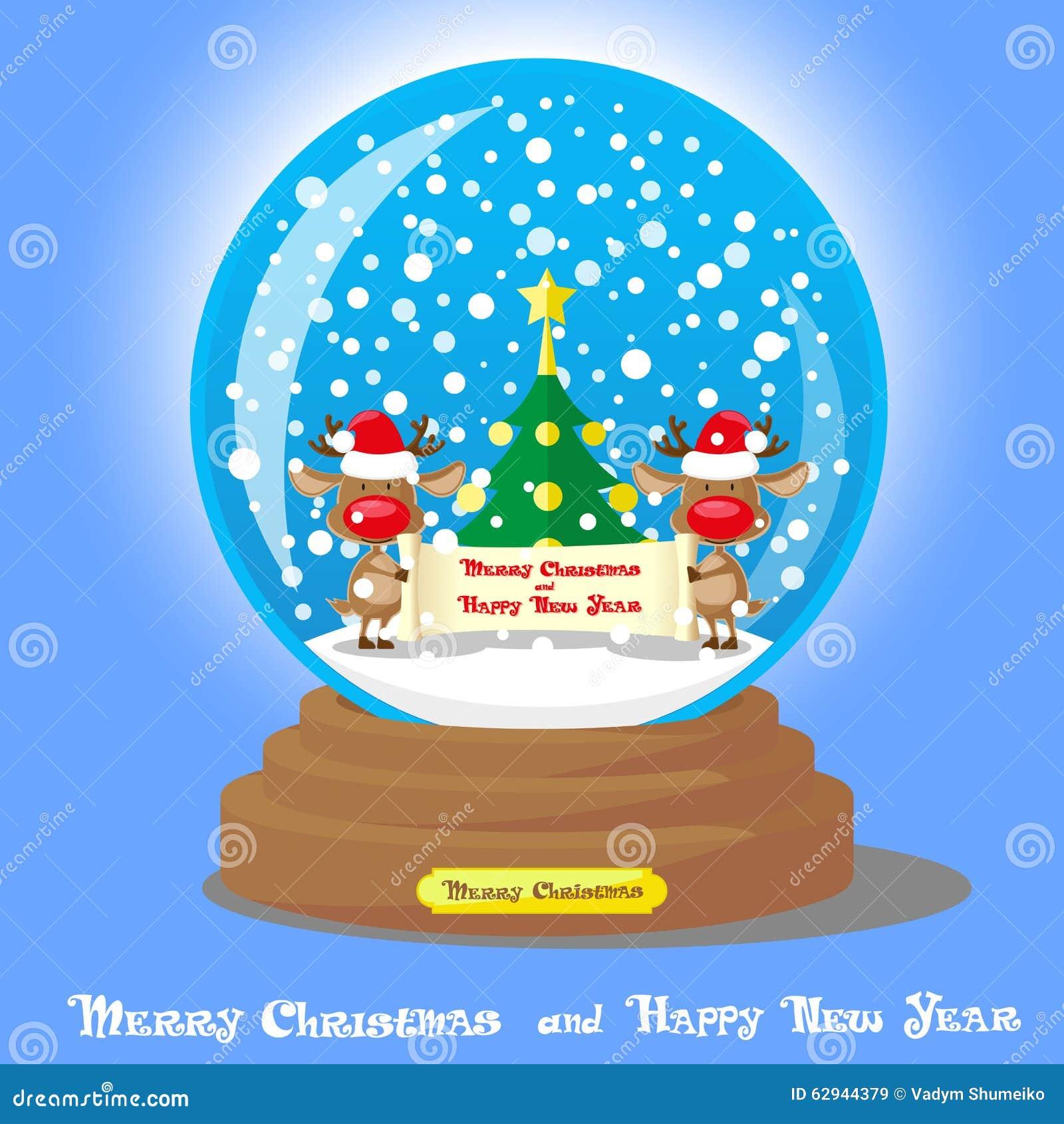 Globo da neve do Natal do vetor: dois cervos engraçados no chapéu de Santa com a árvore do rolo e de Natal no fundo azul do incli