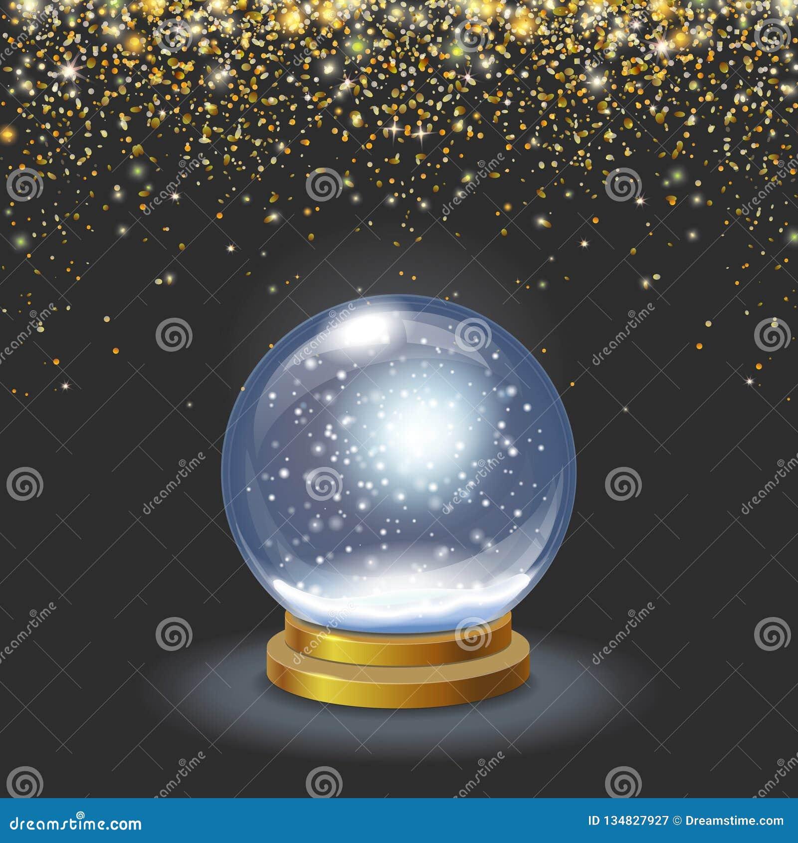 Globo da neve do Natal na ilustração de brilho de queda do vetor 3d dos confetes do ouro do fundo preto
