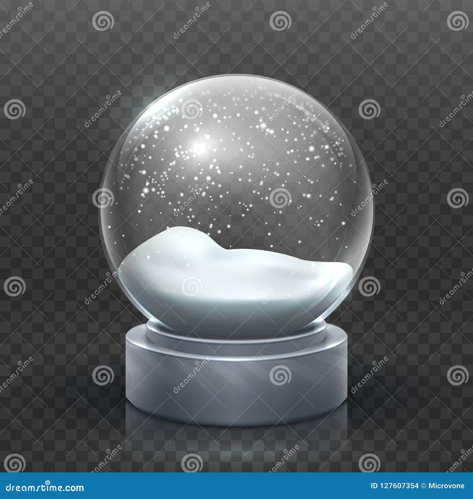 Globo da neve Snowglobe do feriado do Natal, bola de neve vazia do xmas do vidro Molde mágico nevado do vetor da bola