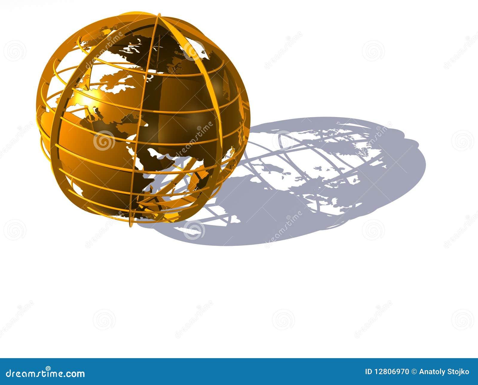 Globo da terra do ouro no branco