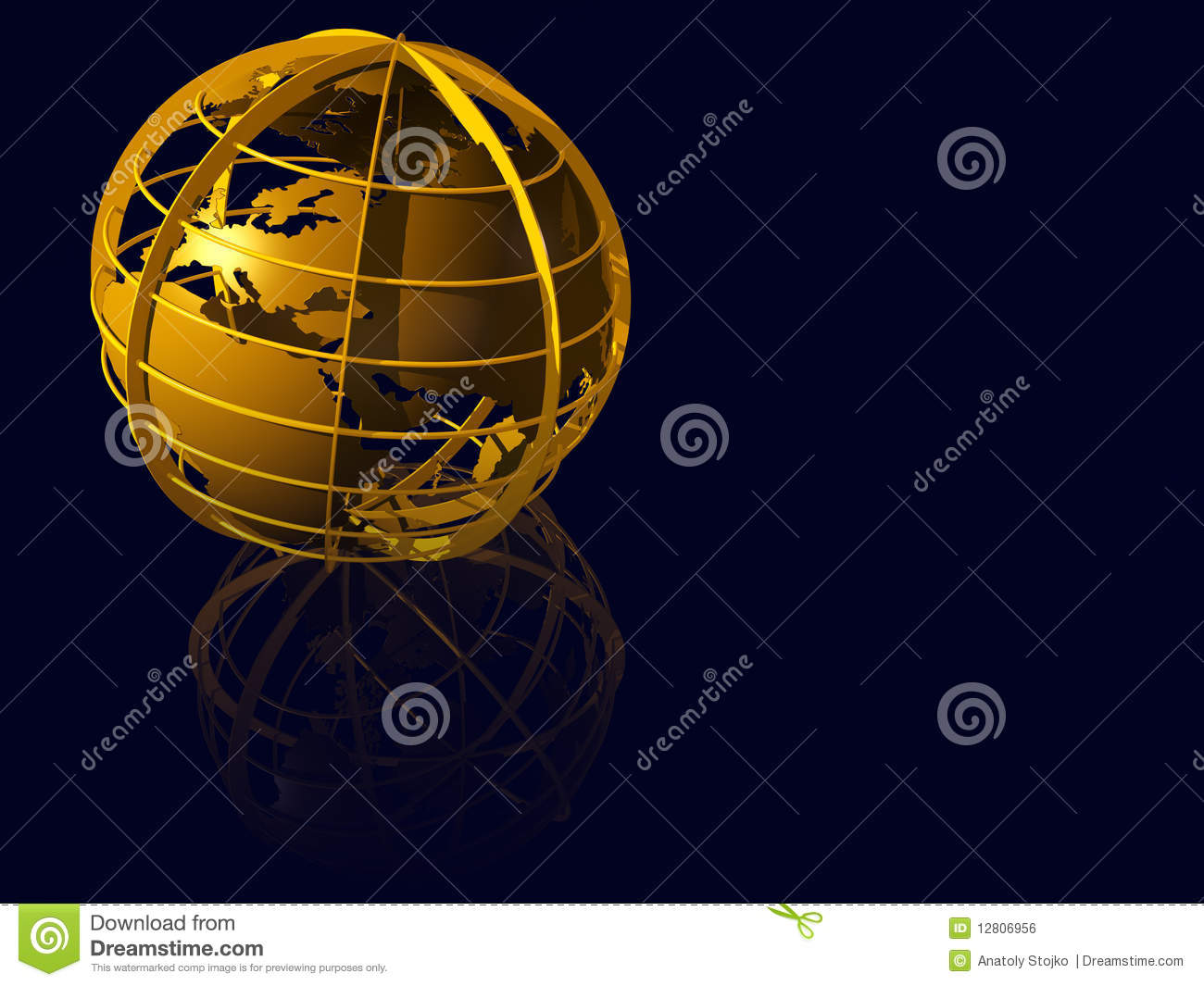 Globo da terra do ouro no mirrow azul