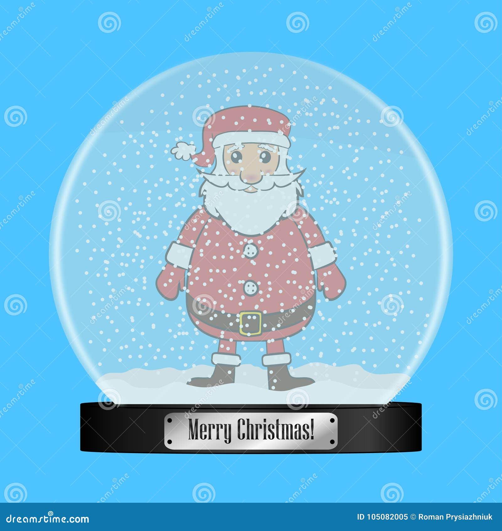 Globo de cristal de la nieve con Santa Claus dentro Bola realista del snowglobe con los copos de nieve del vuelo Regalo de la Nav