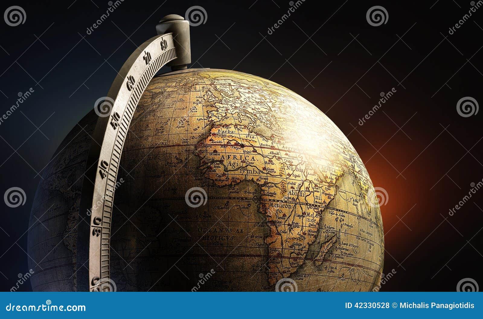 Globo de escritorio del metal del mapa viejo de la historia