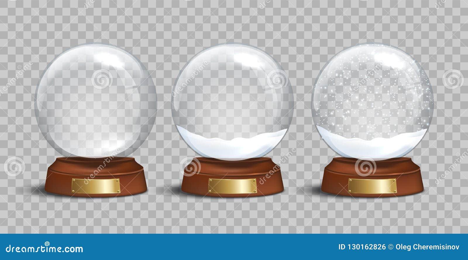 Globo de la nieve y globos de cristal vacíos de la nieve con nieve en fondo transparente Diseño de la Navidad del vector y del Añ