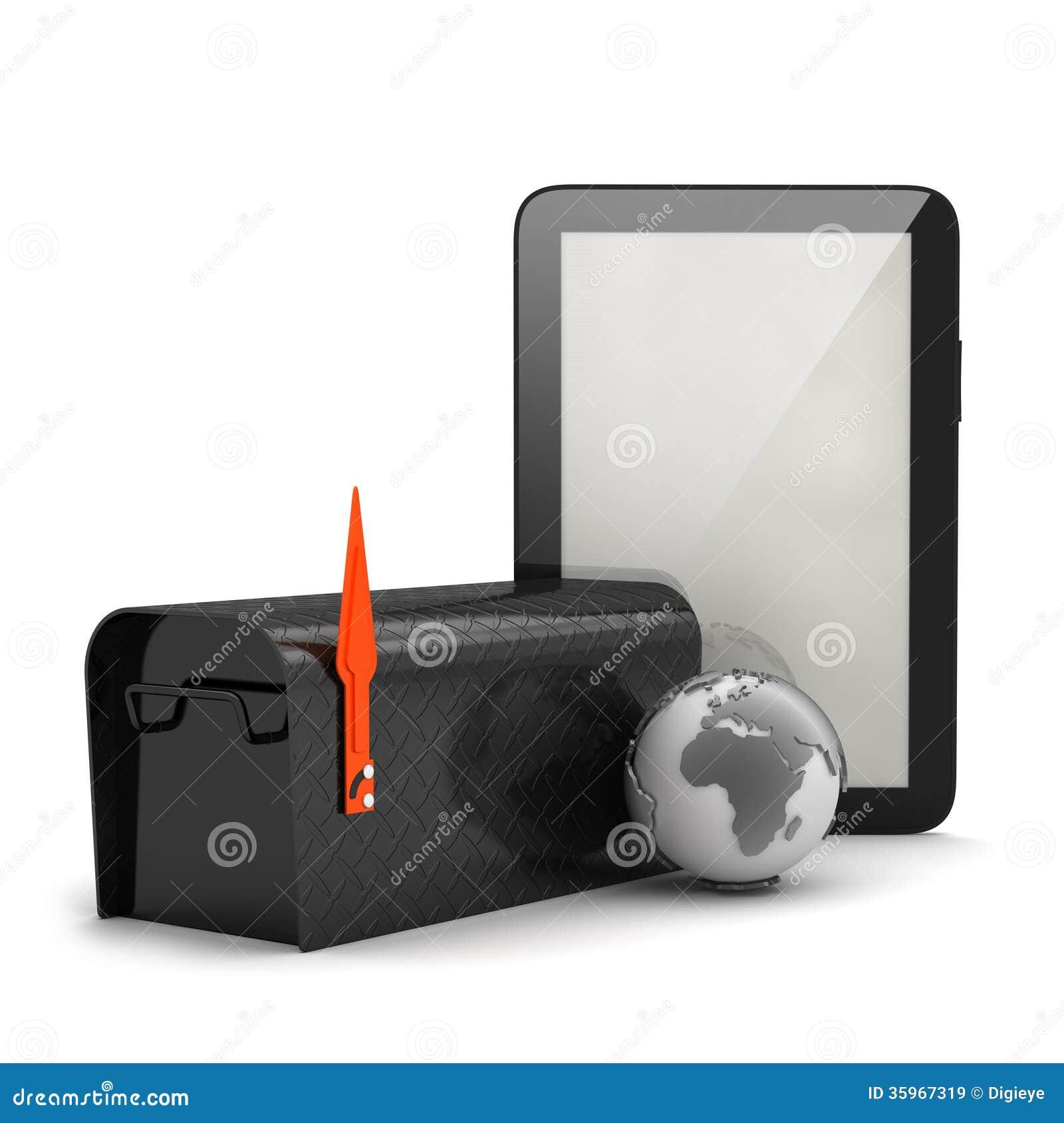 Globo de la tableta, del buzón y de la tierra