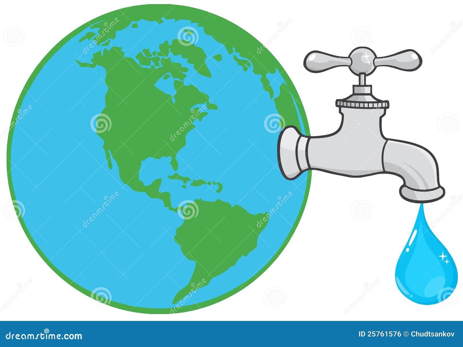 Globo de la tierra con el grifo de agua ilustraci n del for Grifo dibujo