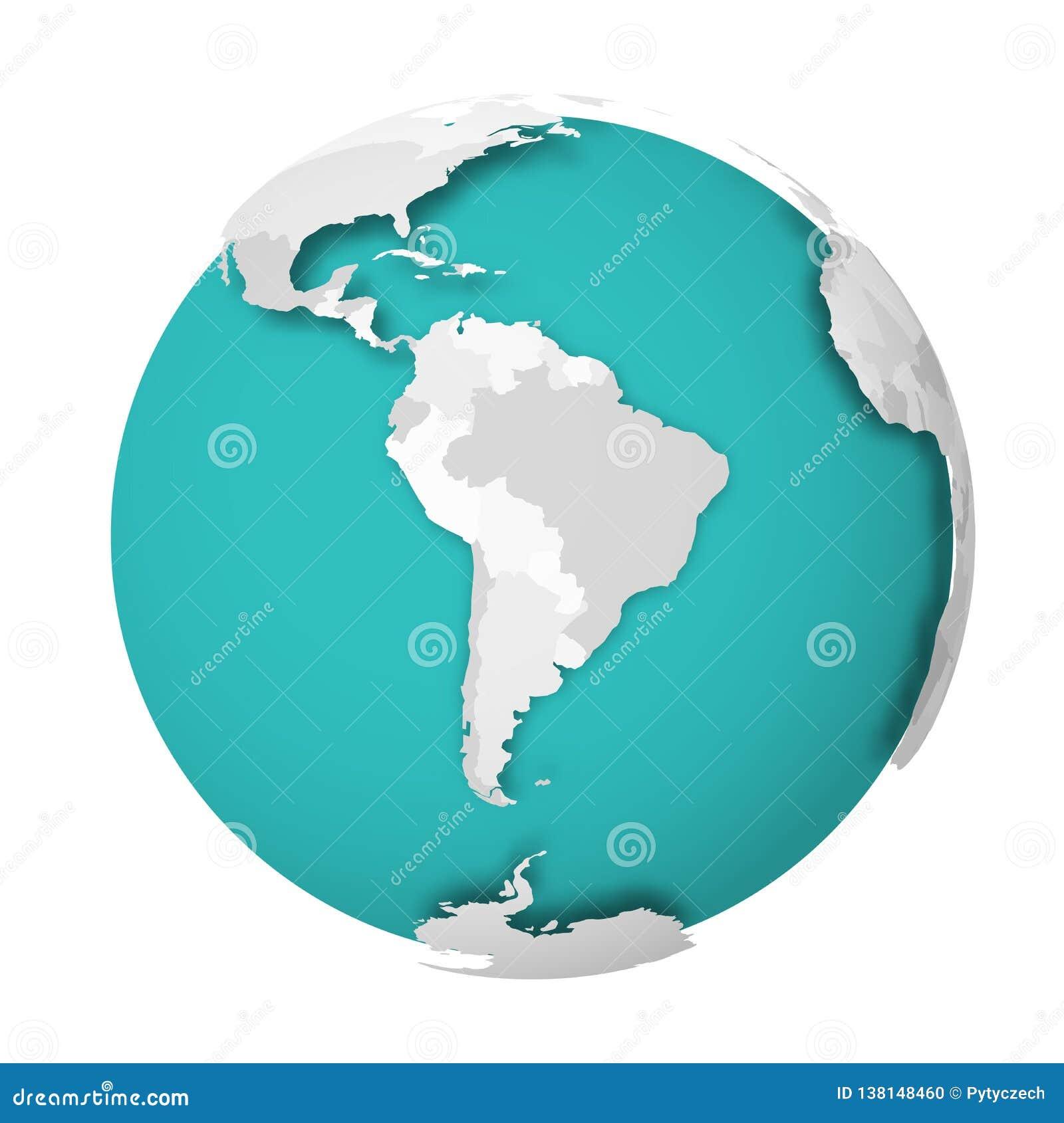 Globo de la tierra 3D con la sombra de caída del mapa político en blanco en los mares verdes azules y los océanos Ilustración del