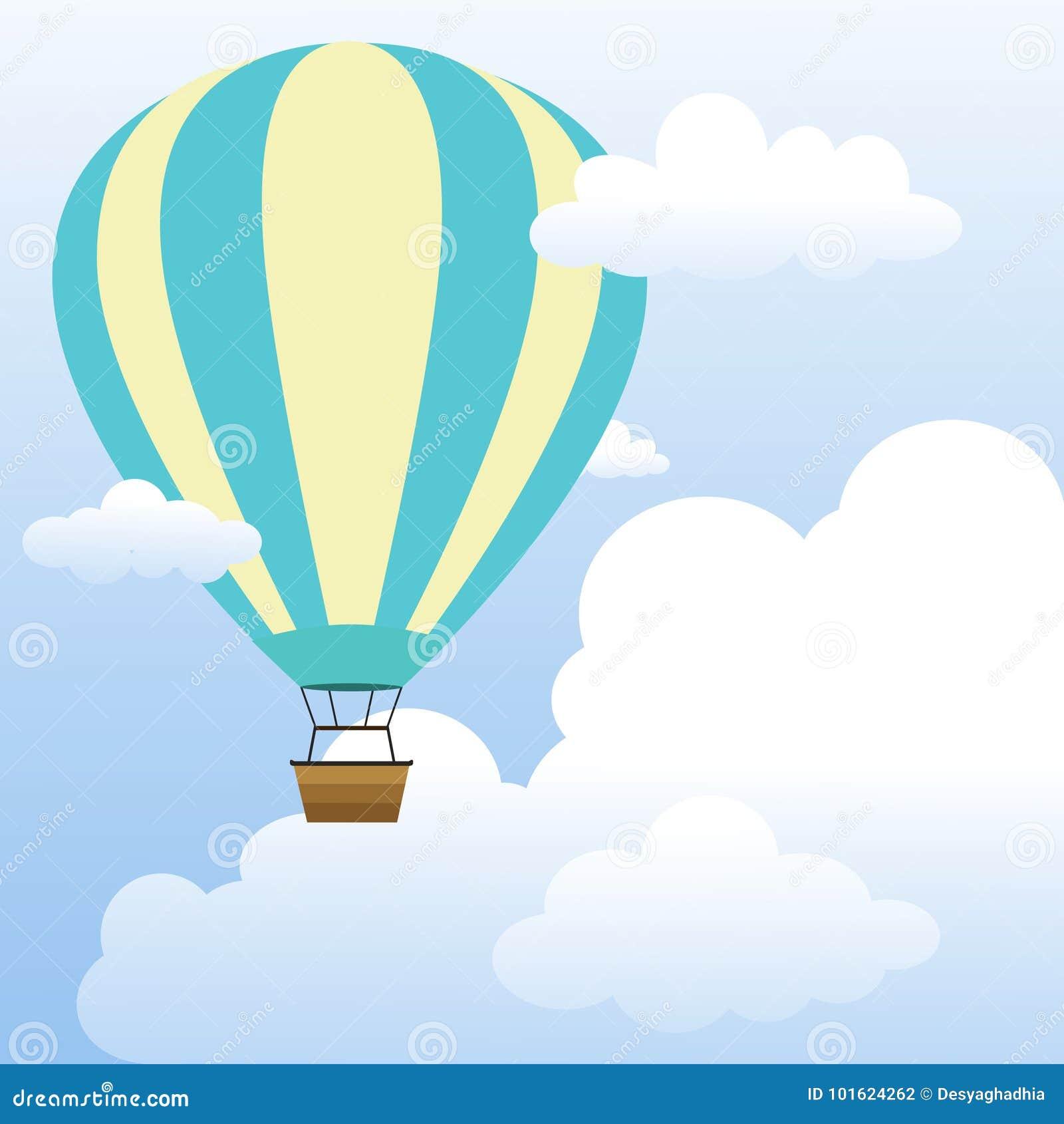 Globo del aire caliente que flota en la opinión nublada de cielo azul Cielo brillante con el ejemplo del vector de las nubes