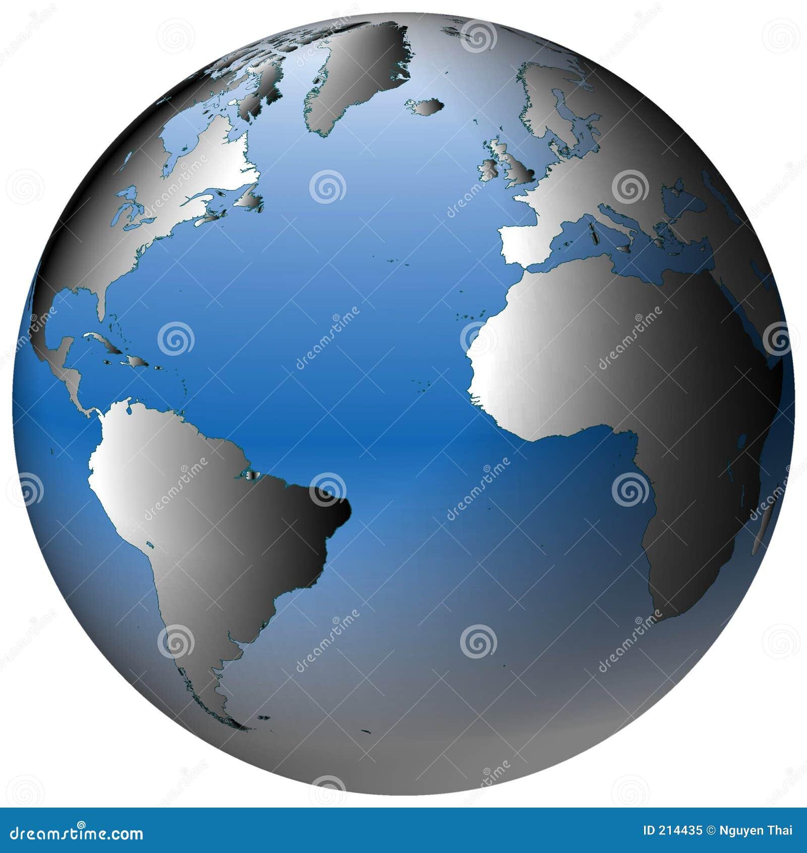 Globo del mondo: Atlantico, con gli oceani blu-protetti