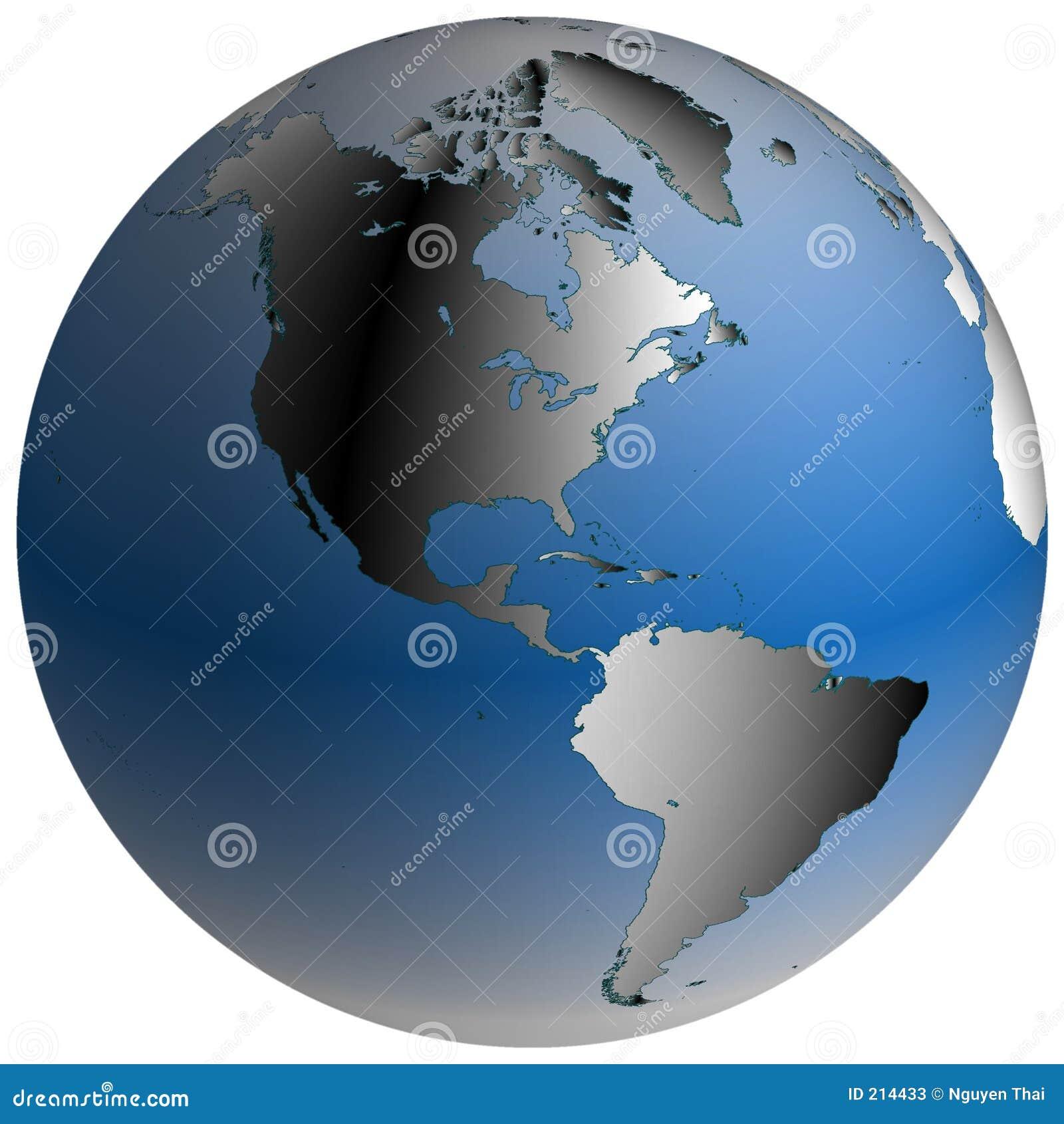 Globo del mondo: L America, con gli oceani blu-protetti