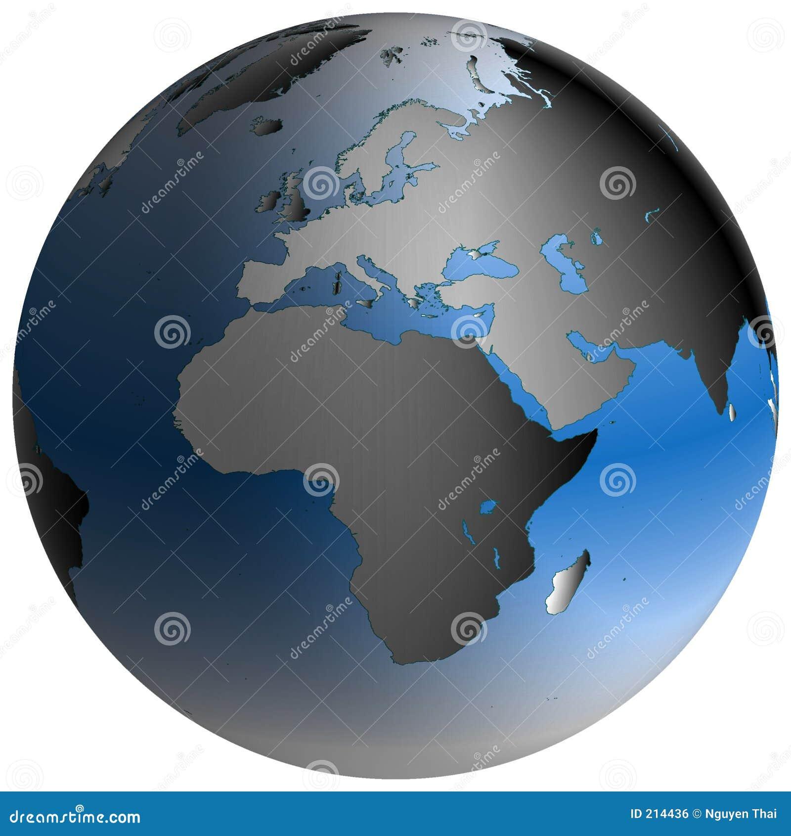 Globo del mondo: L Europa-Africa, con gli oceani blu-protetti
