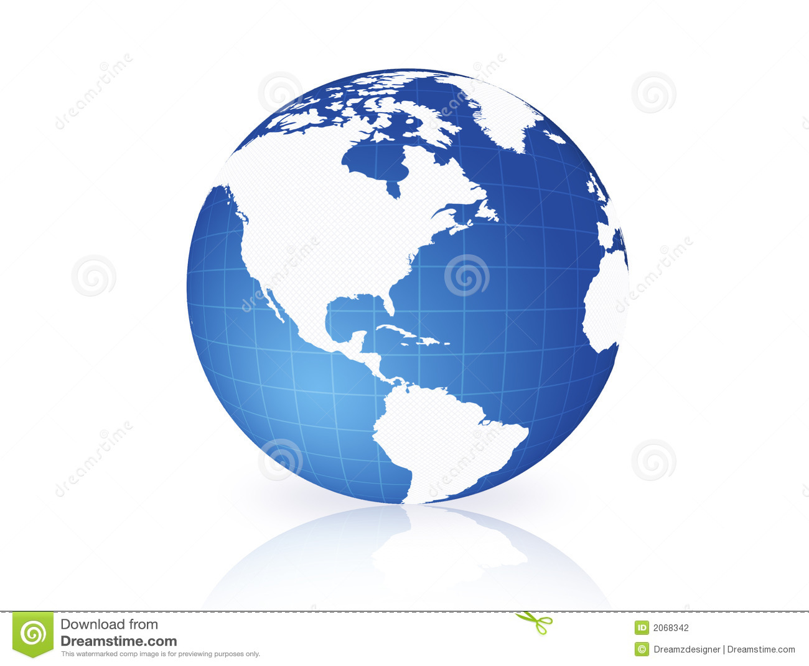 Globo azul del mundo aislado en el norte blanco y Suramérica de ...