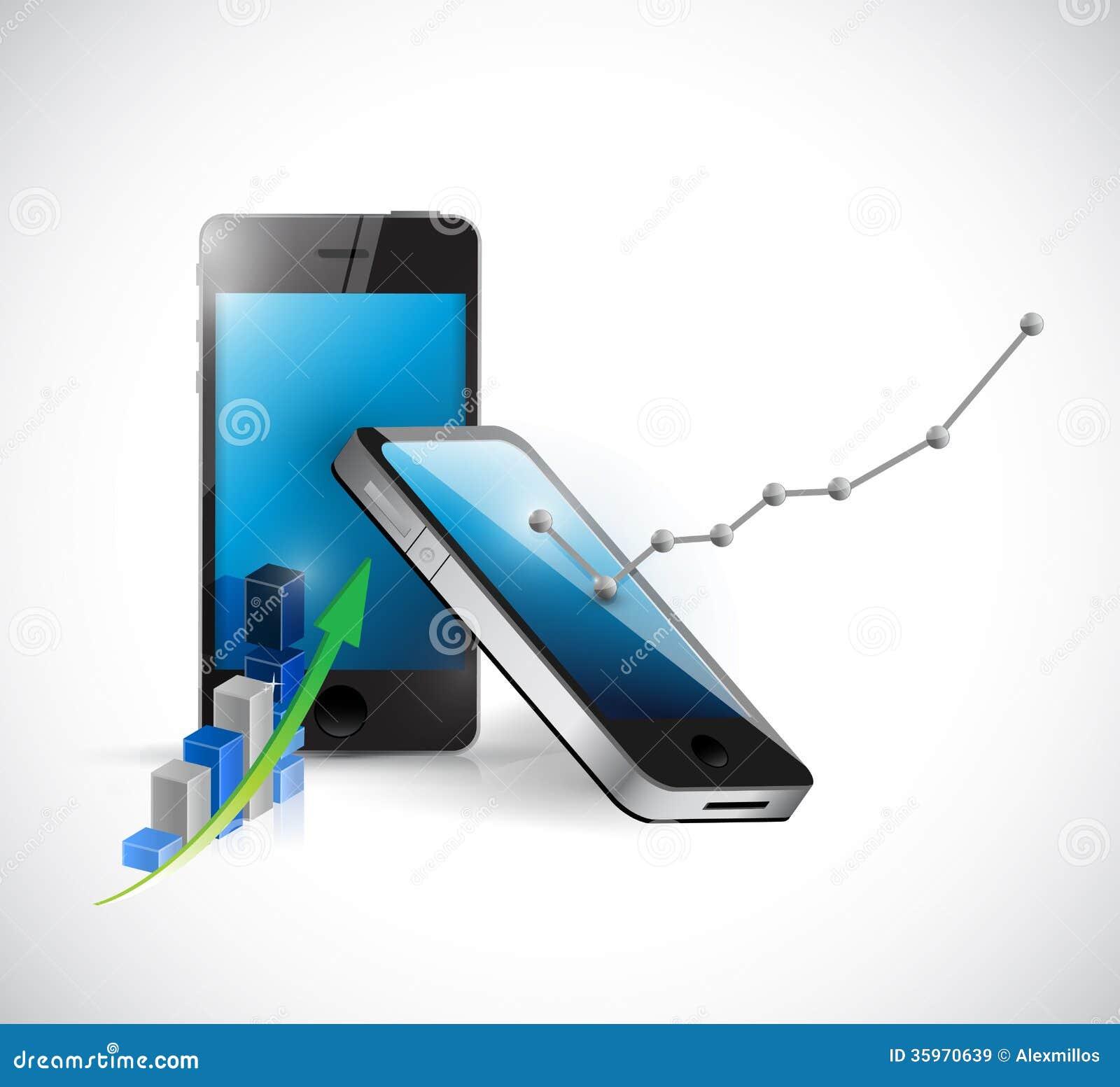 Globo del teléfono y gráfico de negocio. ejemplo