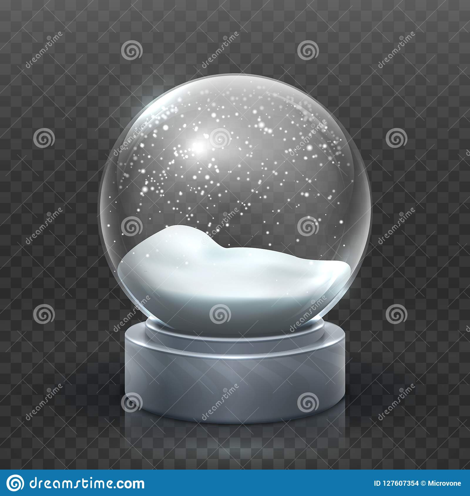 Globo della neve Snowglobe di festa di Natale, palla di neve vuota di natale di vetro Modello magico di vettore della palla di Sn