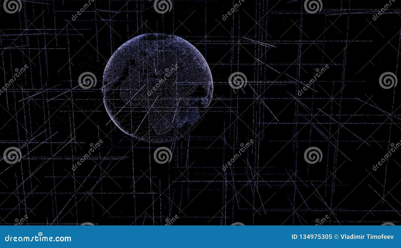 Globo di Digital fatto delle linee d ardore luminose del plesso Pianeta Terra virtuale dettagliato Struttura di tecnologia delle