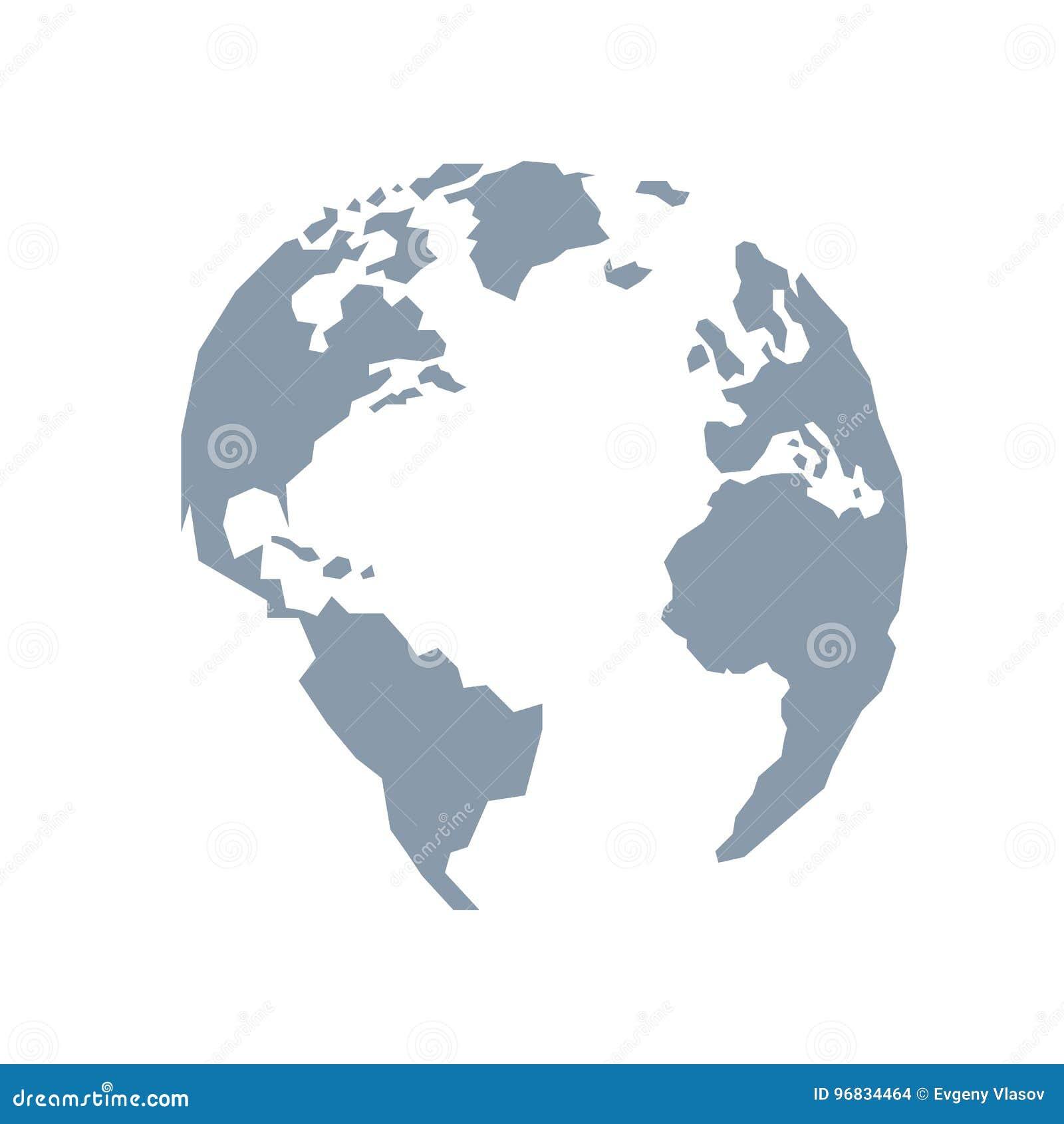 Globo di Lowpoly L America, Europa, l Oceano Atlantico Grey blu