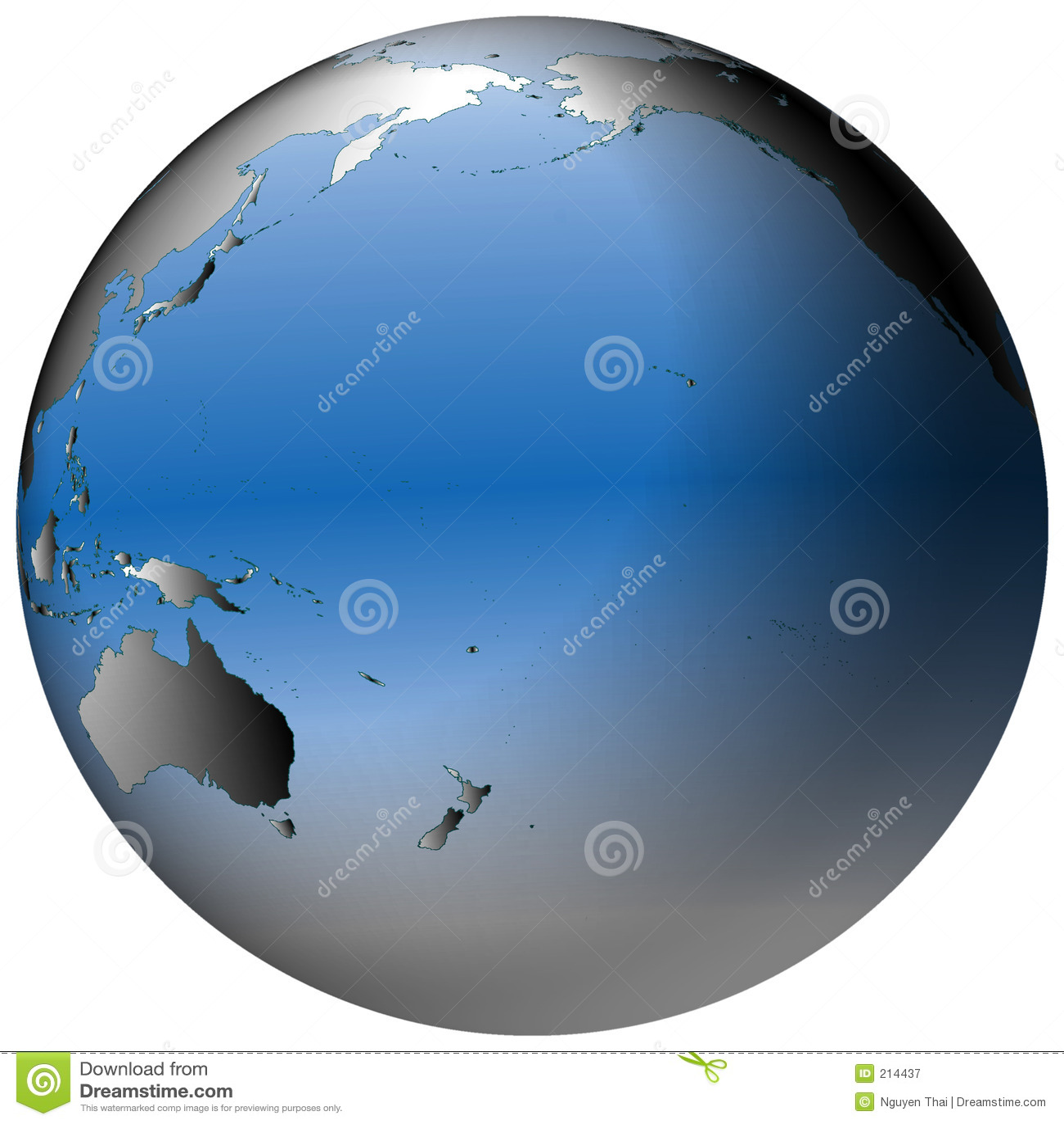Globo do mundo: O Pacífico, com oceanos azul-protegidos