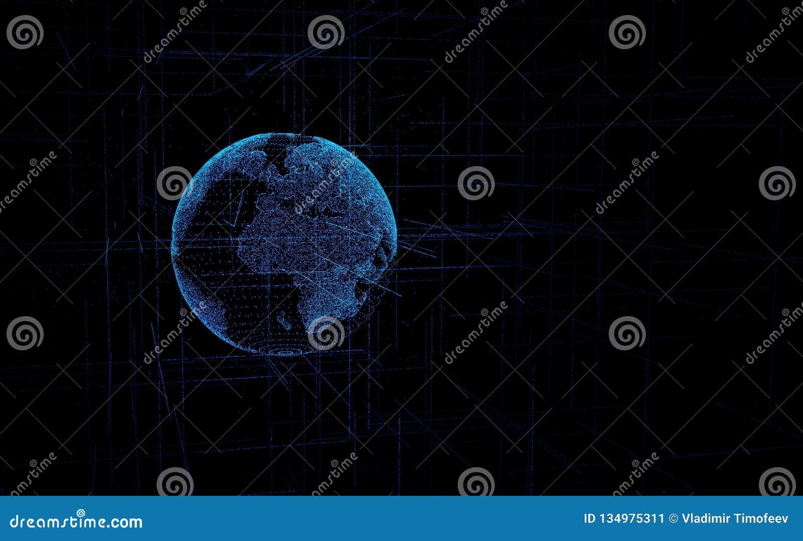Globo dos dados de Digitas - ilustração abstrata da terra de cerco científica do planeta da rede de dados da tecnologia que trans