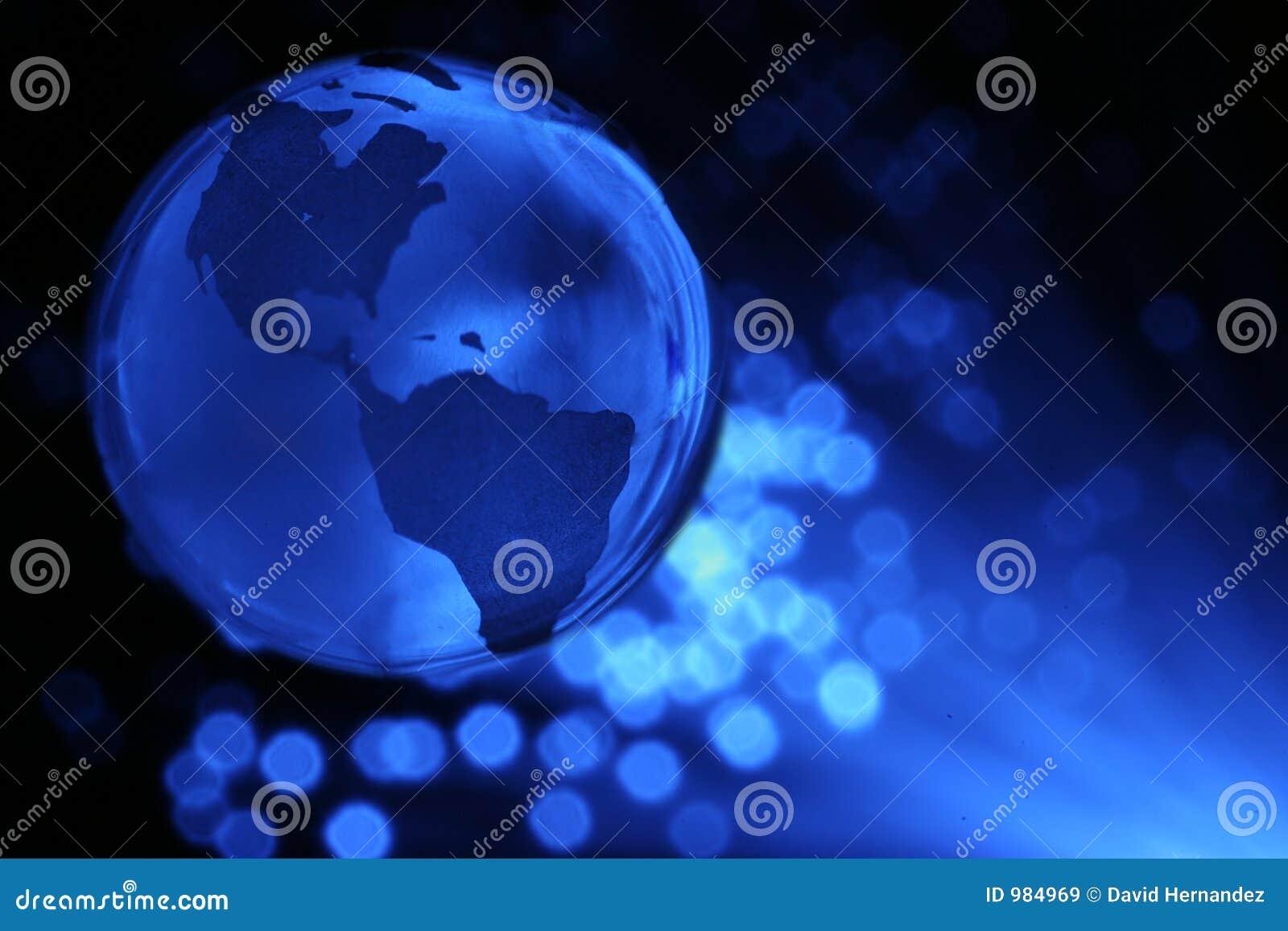 Globo e fibras ópticas da terra