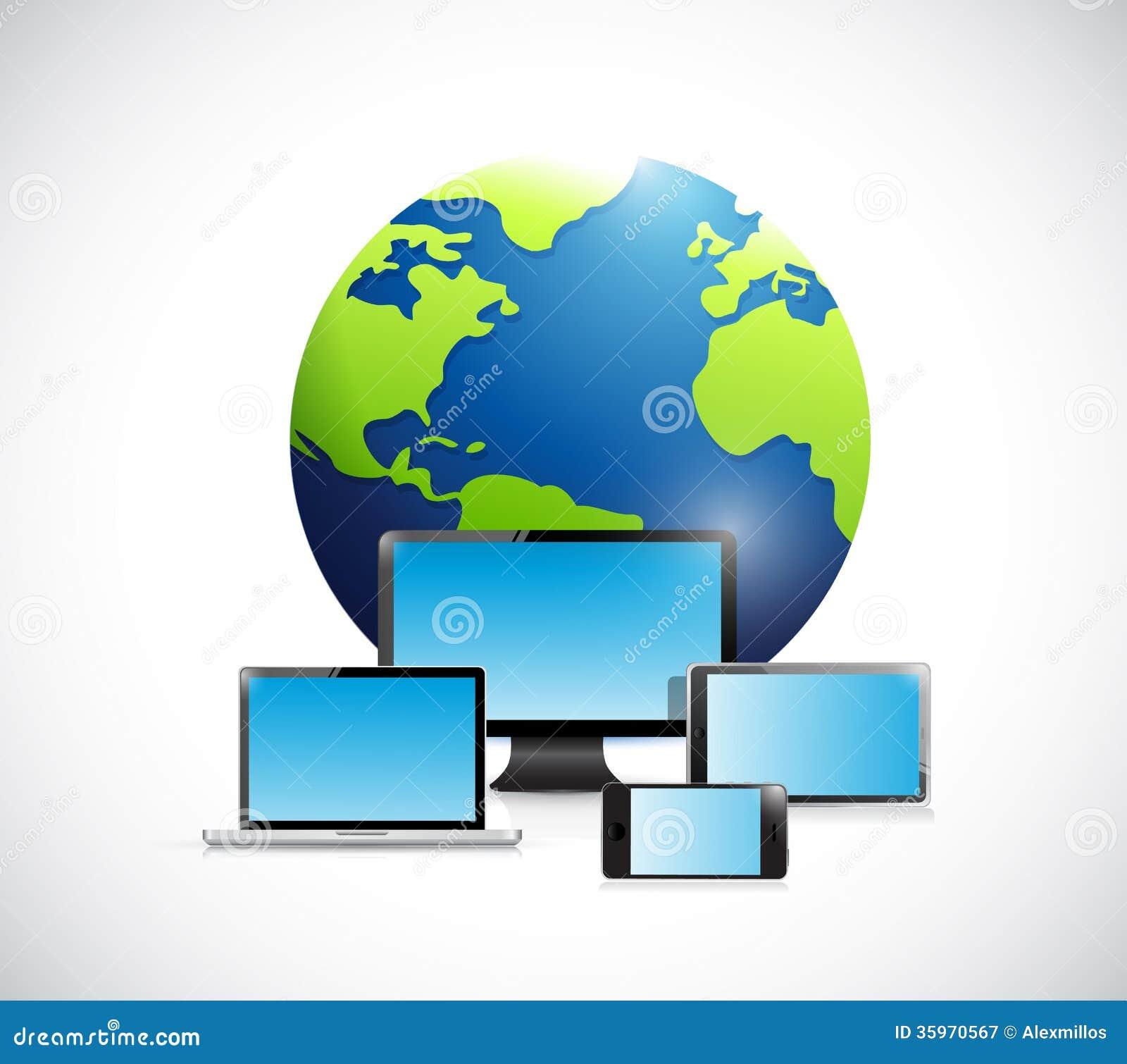 Globo internacional y electrónica.