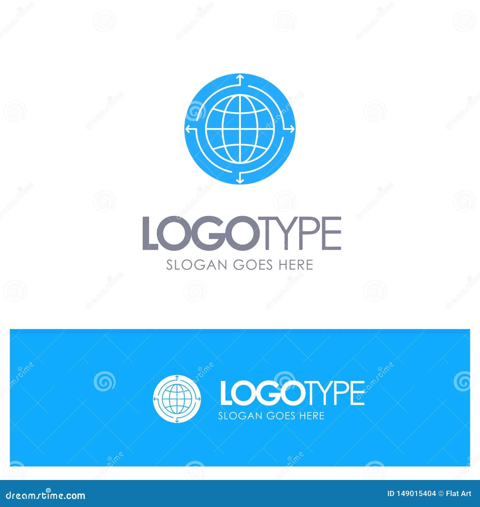 Globo, negocio, comunicación, conexión, global, logotipo sólido azul del mundo con el lugar para el tagline