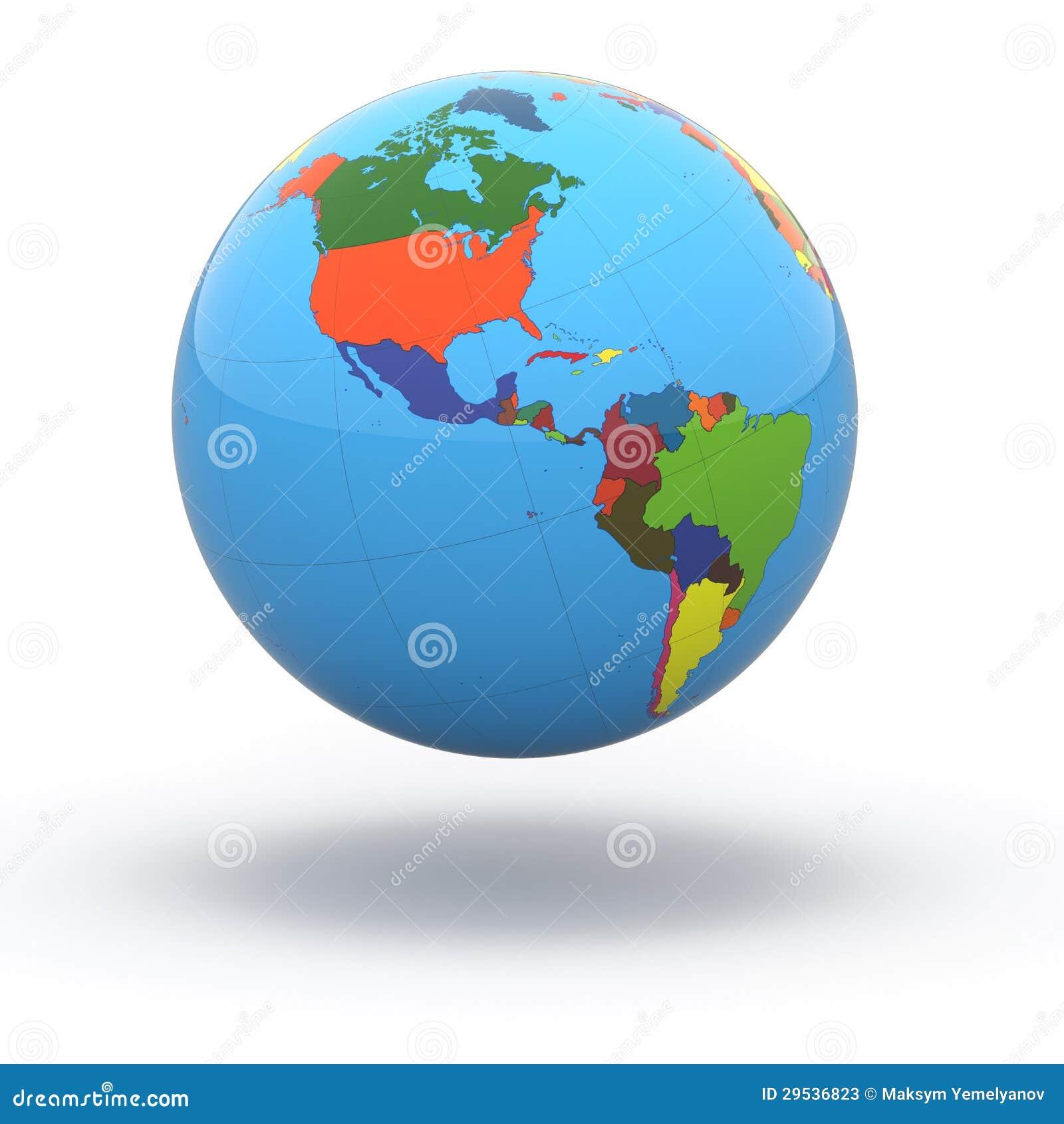 Globo político do mundo no fundo branco. 3d