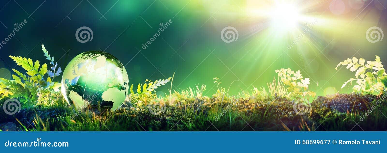 Globo verde no musgo