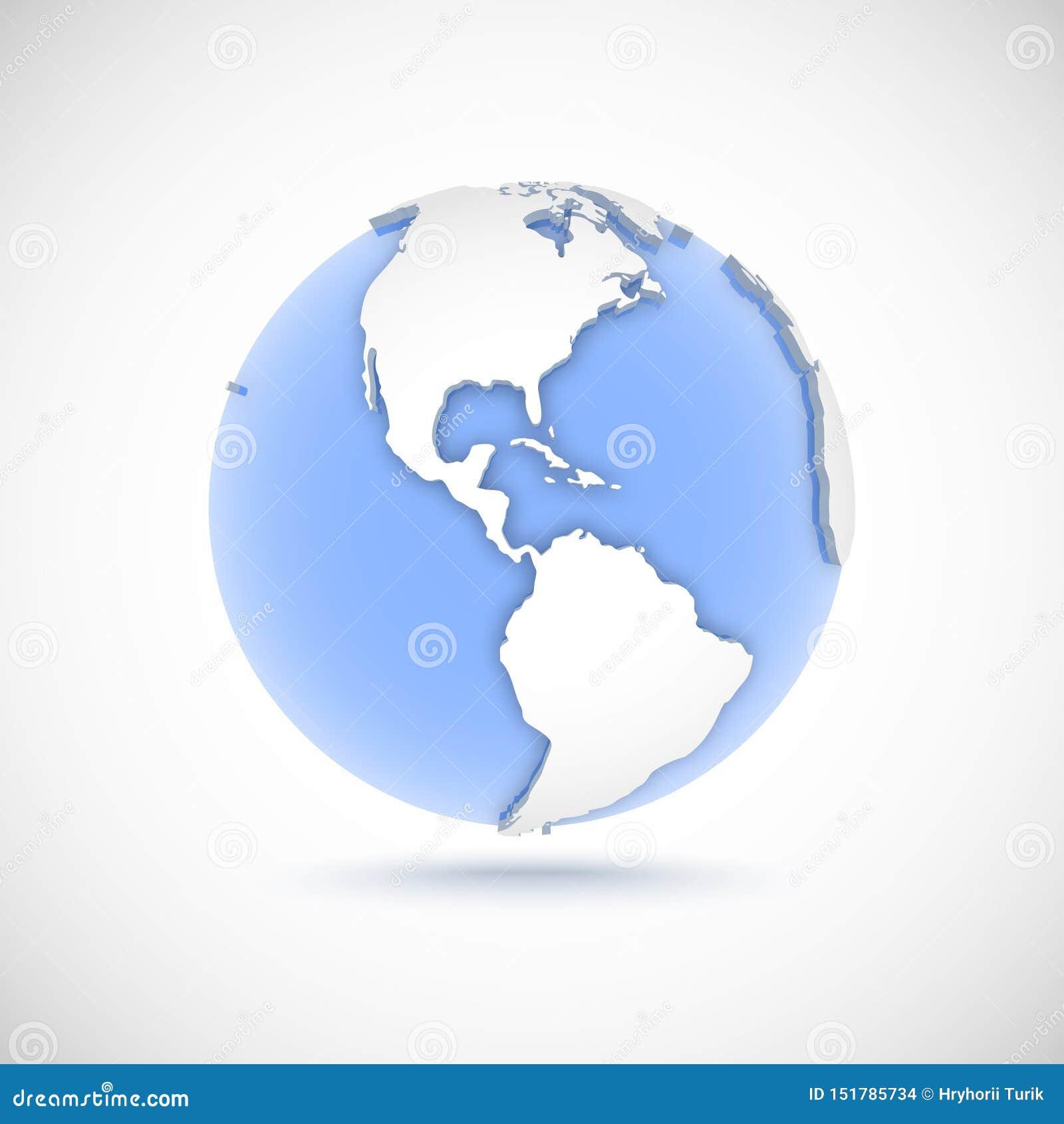 Globo volumétrico en los colores blancos y azules ejemplo del vector 3d con los continentes América, América, del norte, del sur