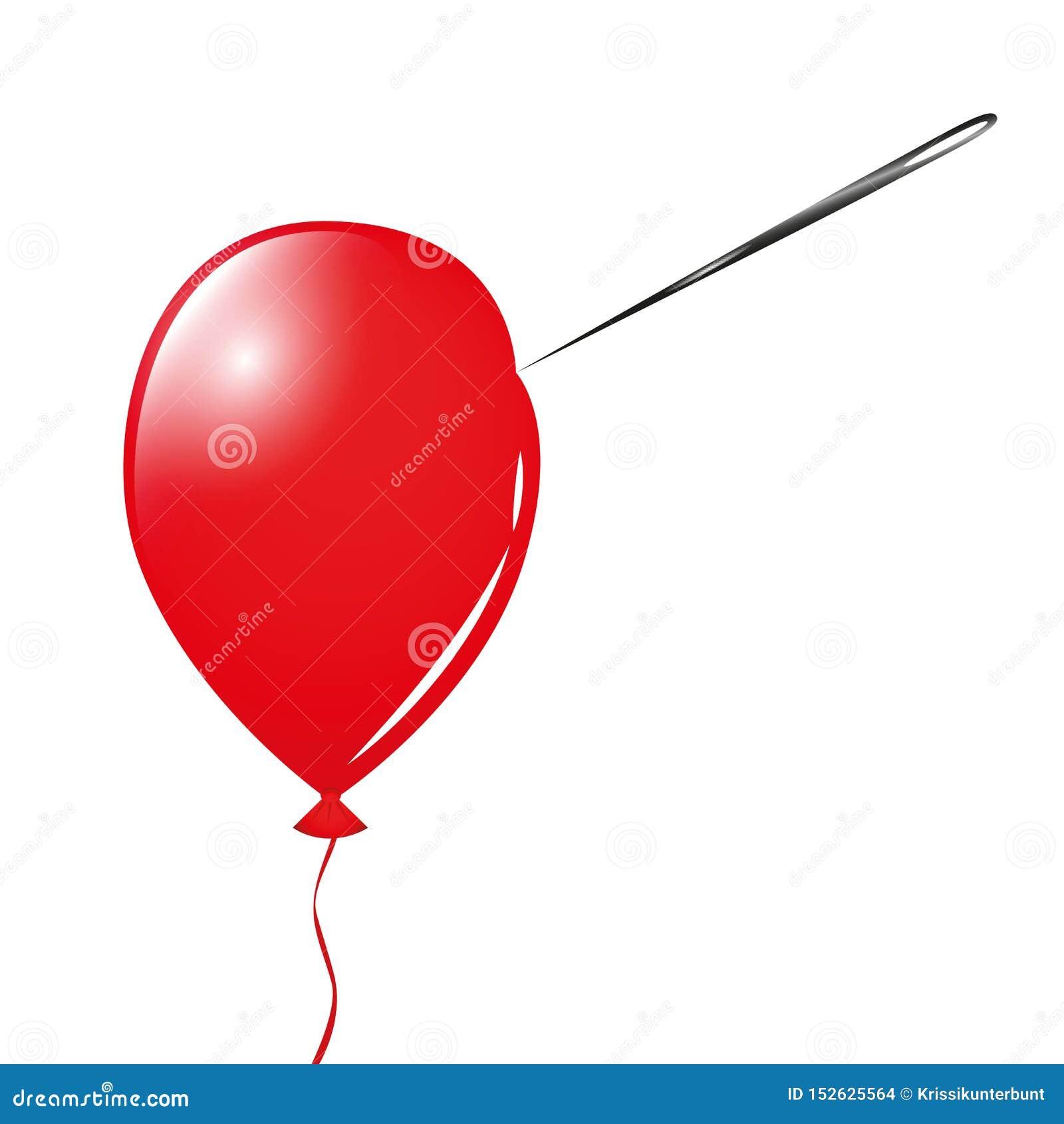 Globo y aguja rojos